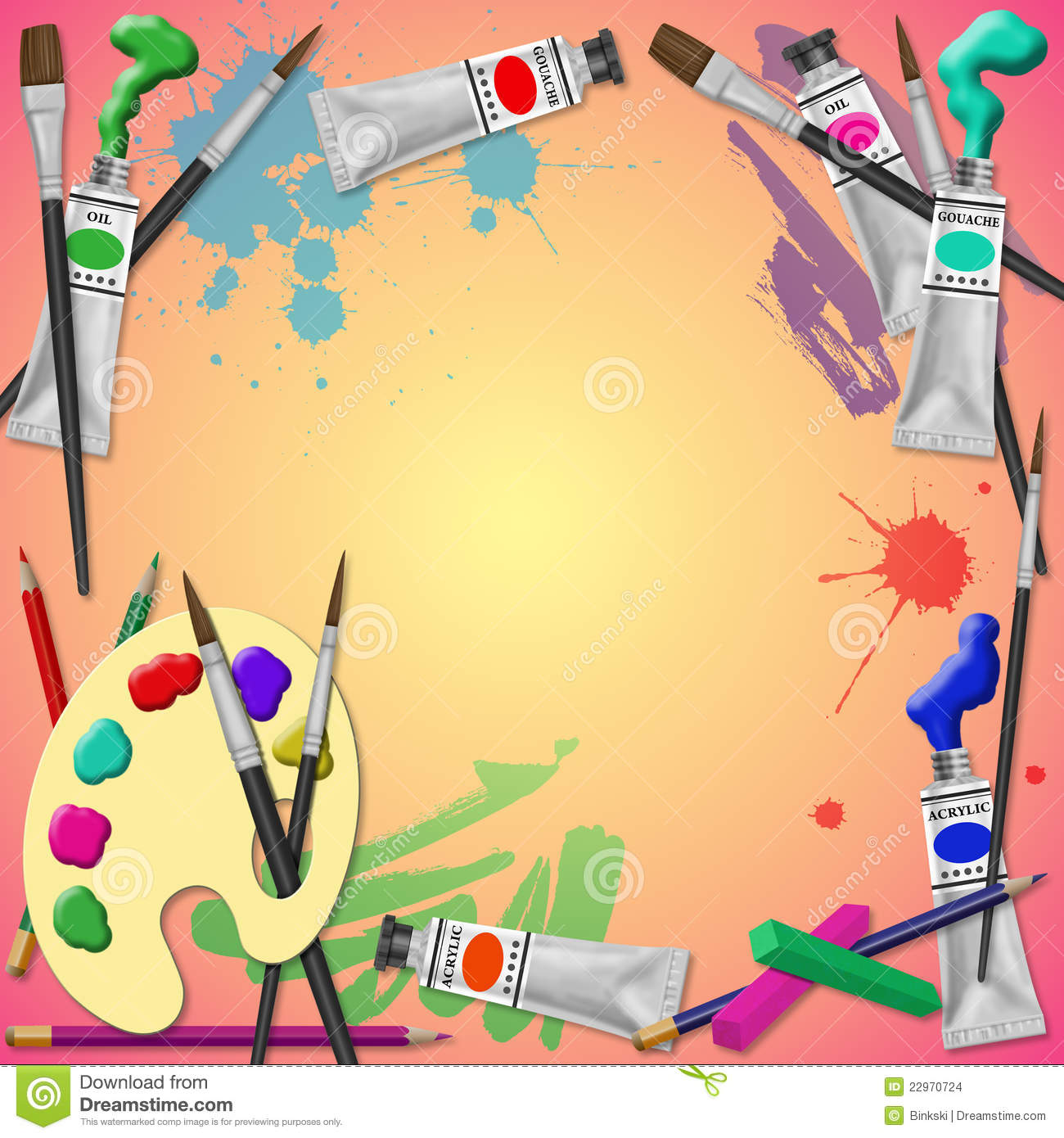 Art equipment background stock illustration image of for Arts and craft paint