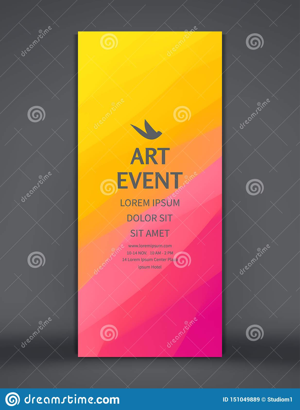 Art Event Invitation Template Vertical Banner Stand For