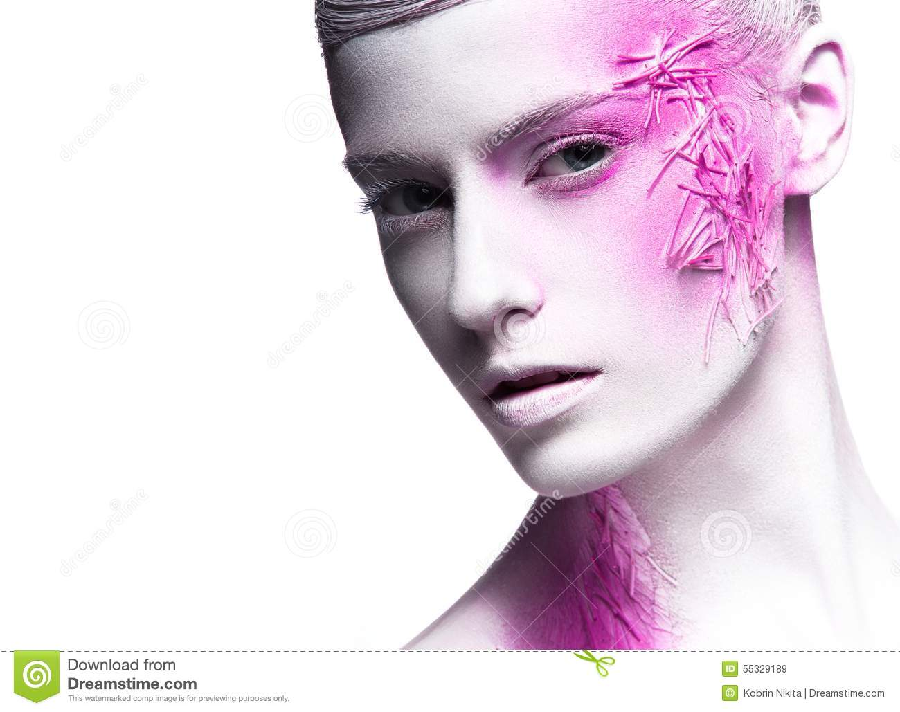 Art Fashion Girl With White Skin And Pink Paint On Stock