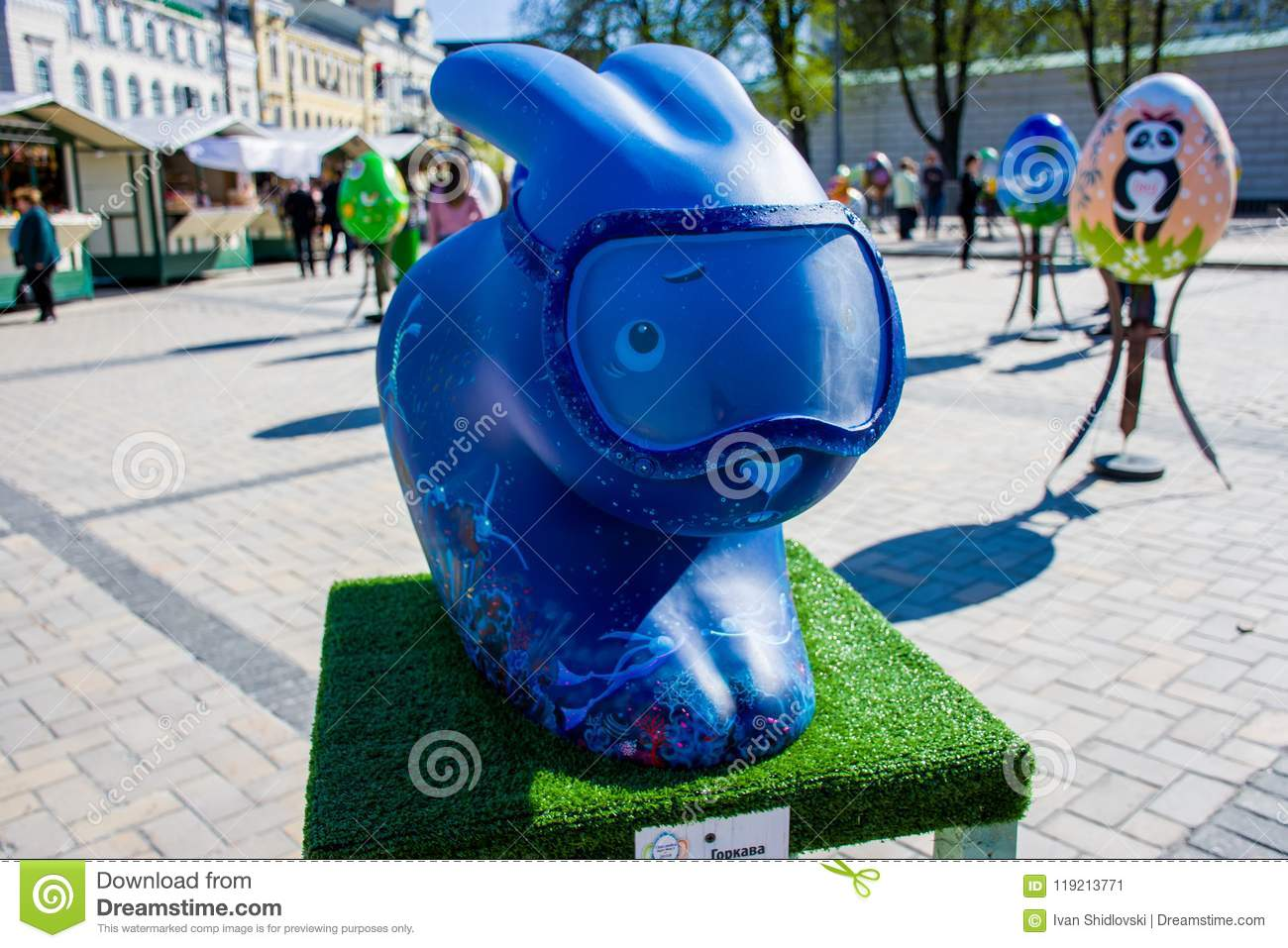 Art figure of Easter bunny in blue in the image of a diver with diving mask on face. Beautiful Easter decoration art Kyiv Kiev,