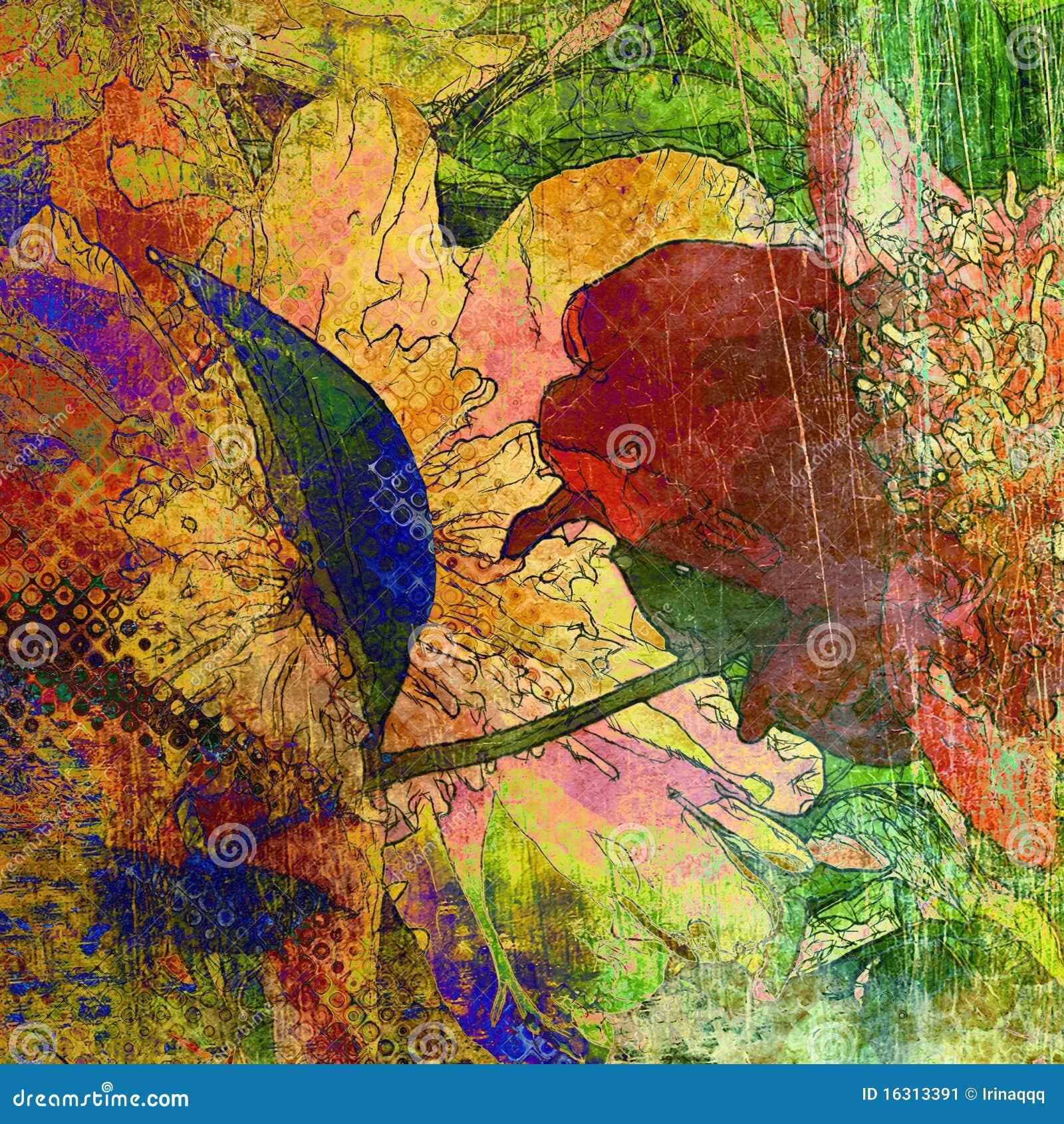 Download Art Floral Grunge Graphic Background Stock Illustration - Illustration of illustration, aging: 16313391