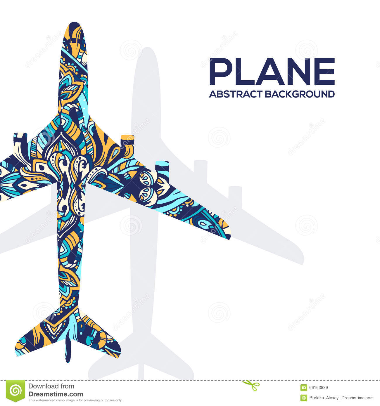 Art flying airplane with abstract colorful ornaments background. Vector  decorative national template of culture 6a2144f5a