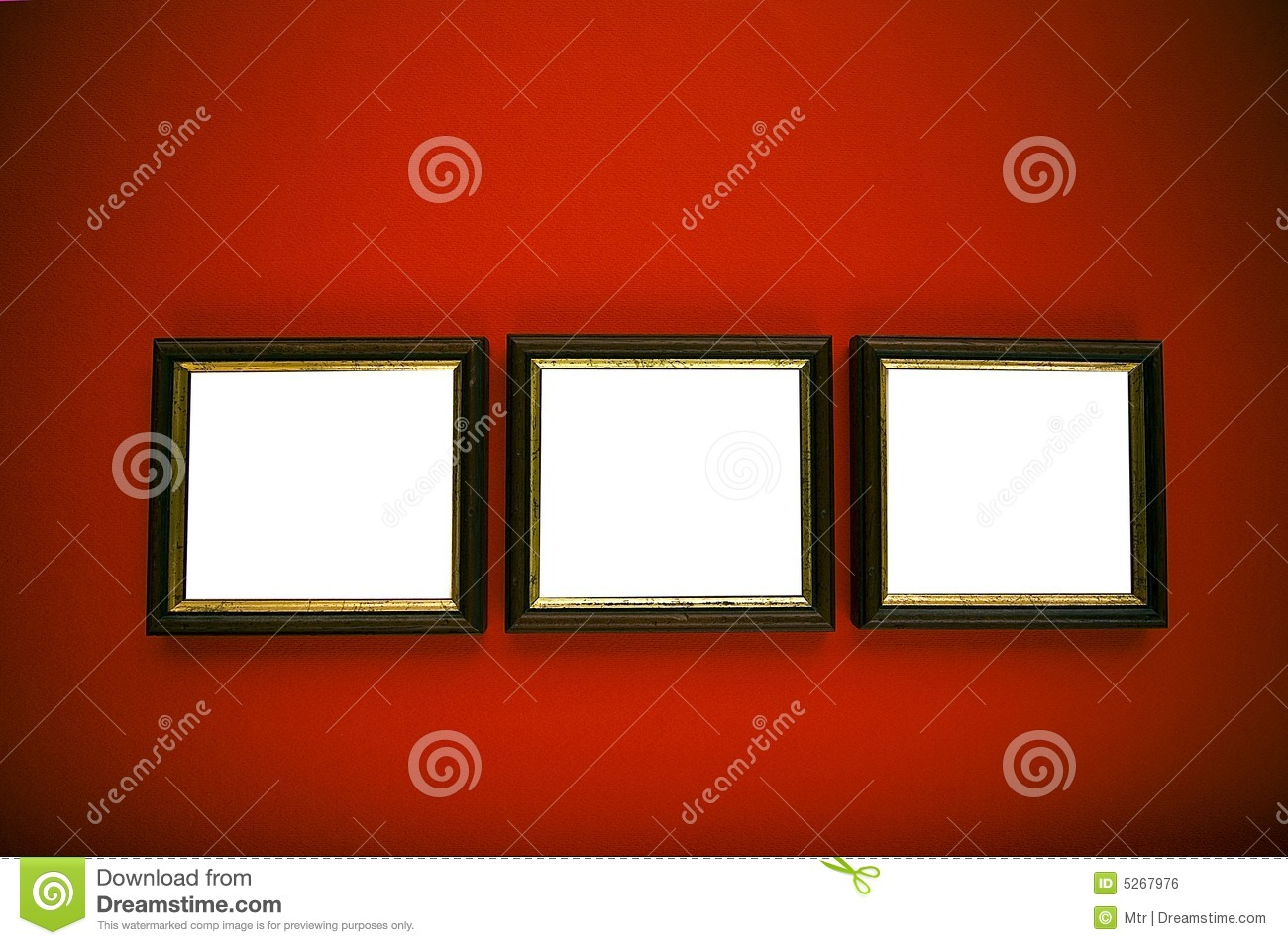 art frames on red wall
