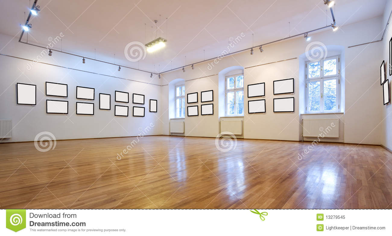 Art Gallery With Blank Pictures Stock Image Image 13279545