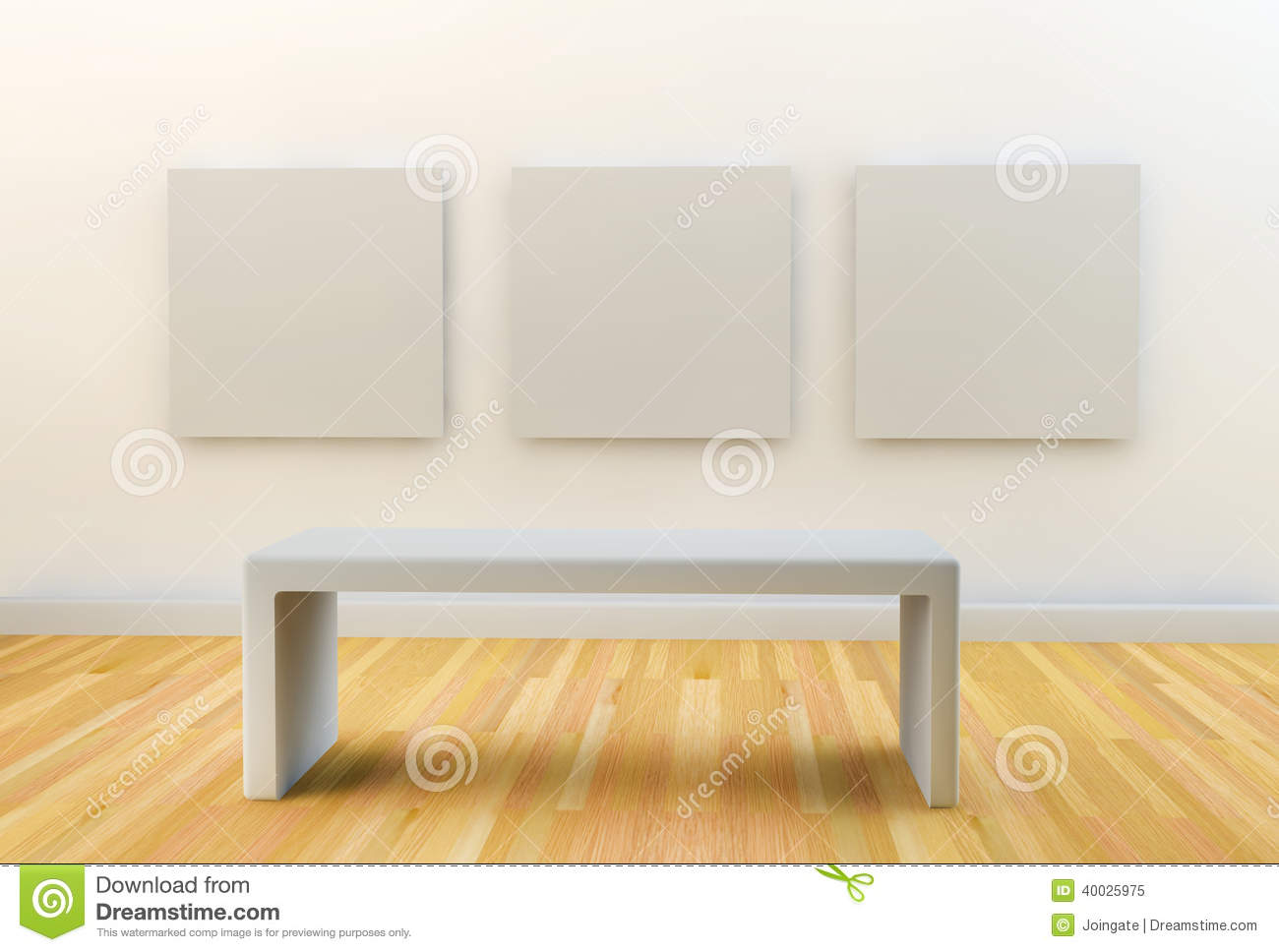 Art Gallery With Empty Seat And White Canvases Stock