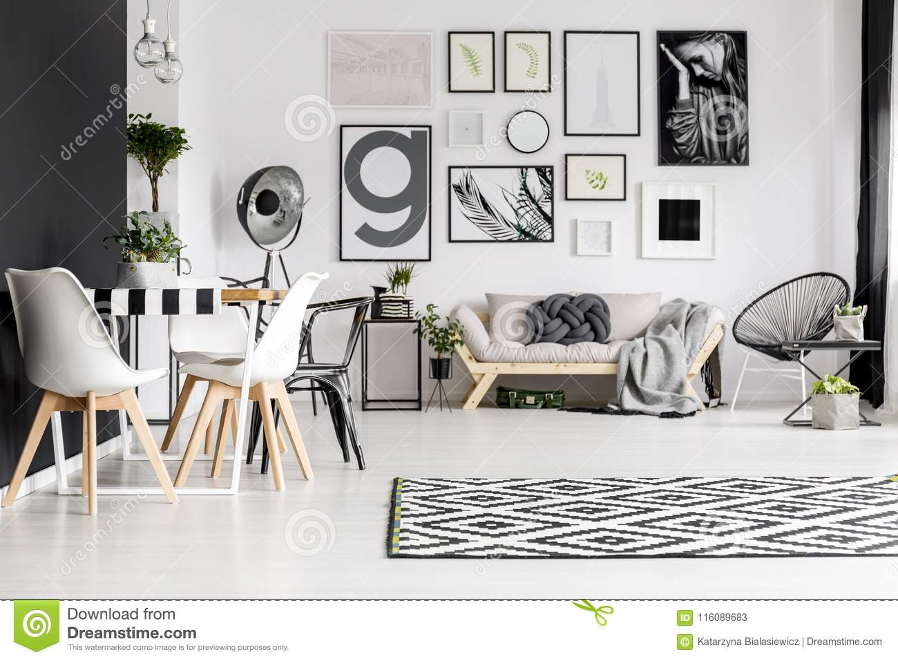 Art Gallery In Living Room Stock Image Image Of Armchair