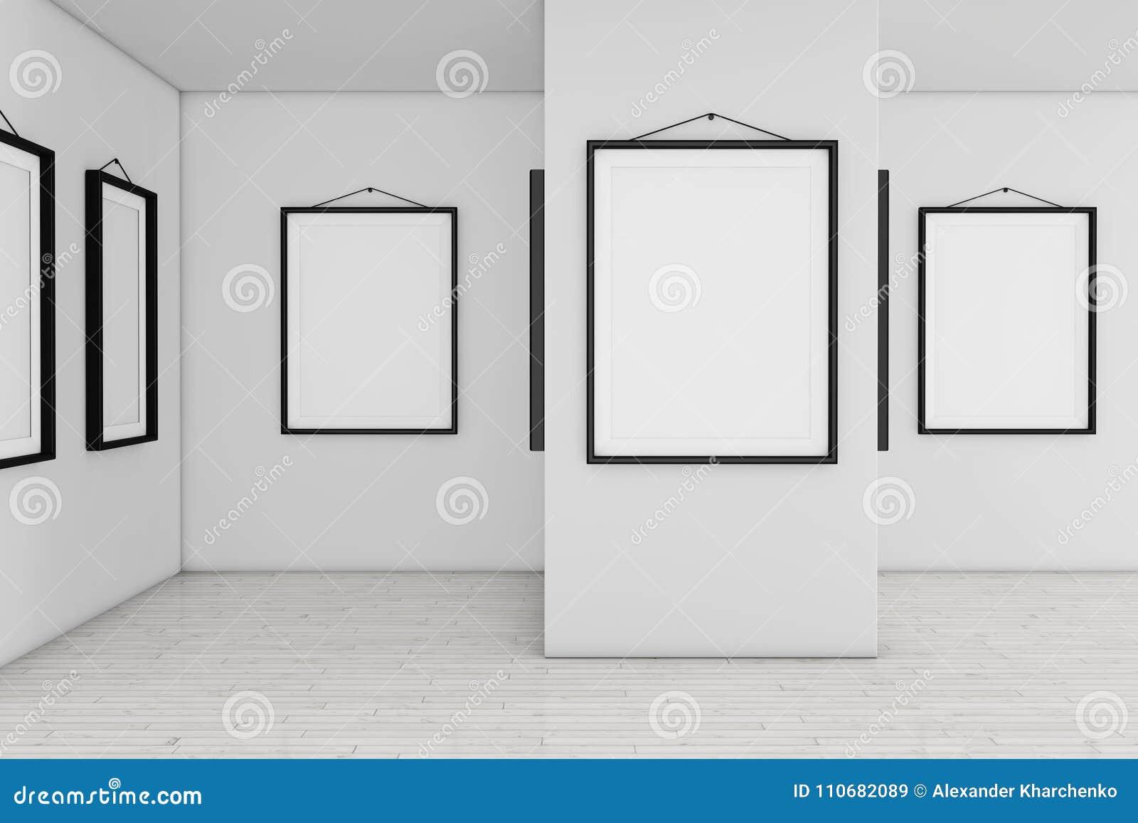 Art Gallery Museum Mit Weißen Leeren Plakat-Modell-Rahmen 3d ...