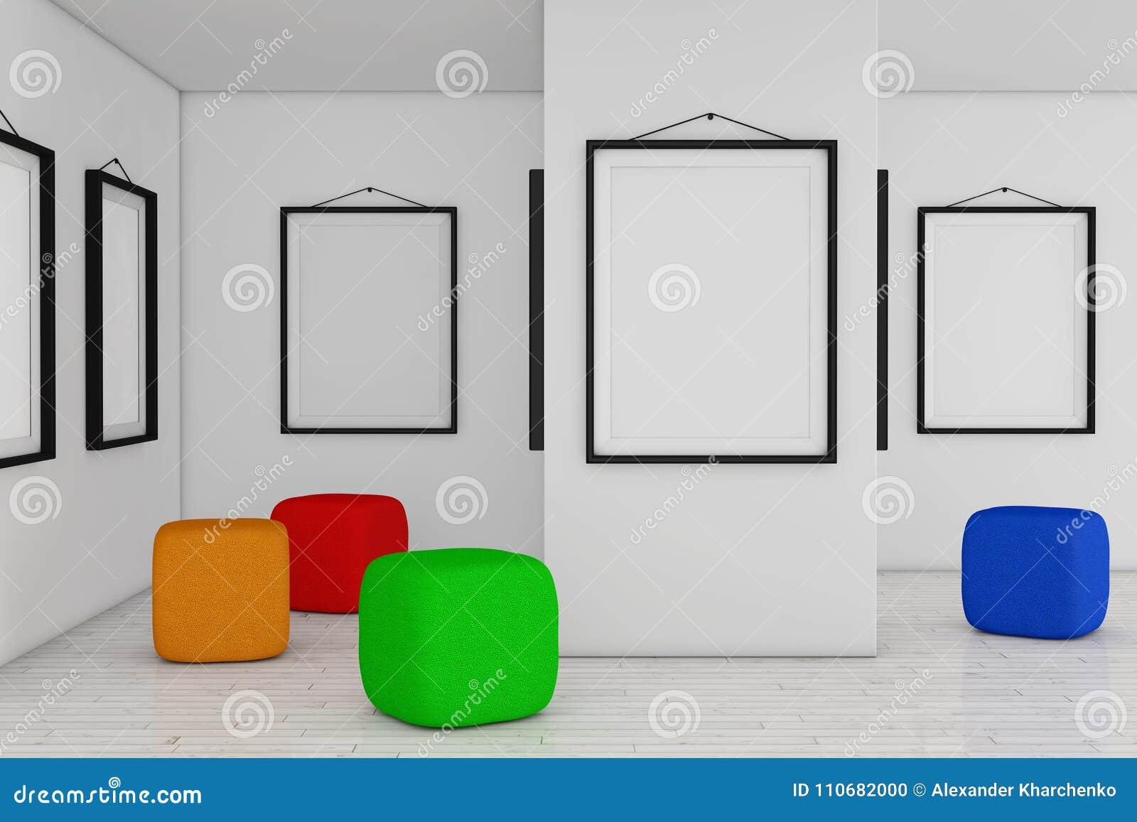Art Gallery Museum Mit Weißen Leeren Plakat-Modell-Rahmen Und Co ...