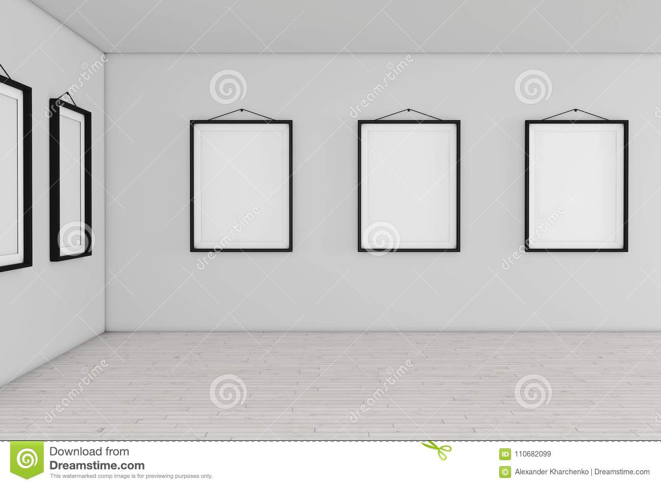 Art Gallery Museum With White Blank Placard Mockup Frames. 3d Re ...