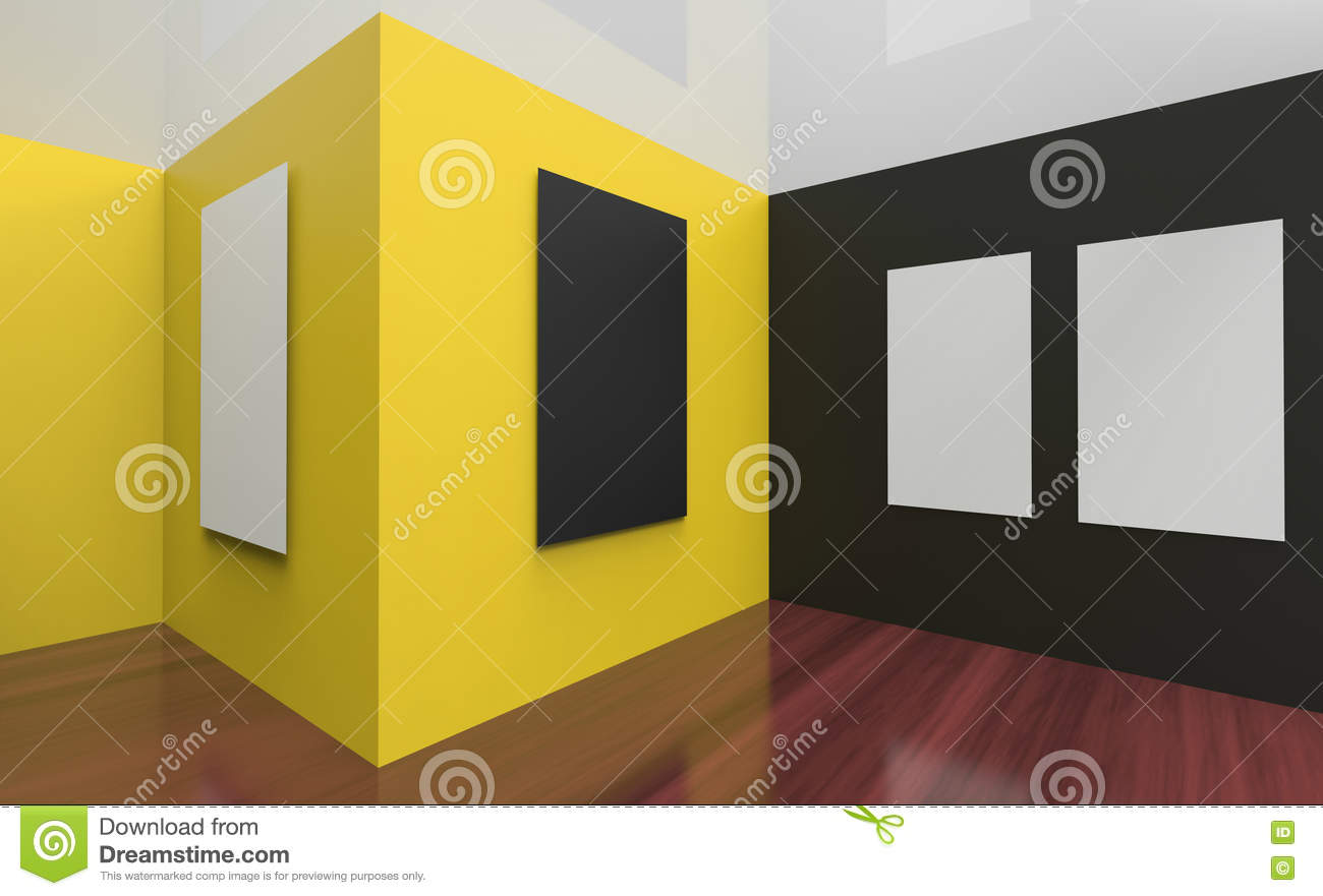 Art Gallery Studio And Picture Frame Wall Black And Yellow Stock ...