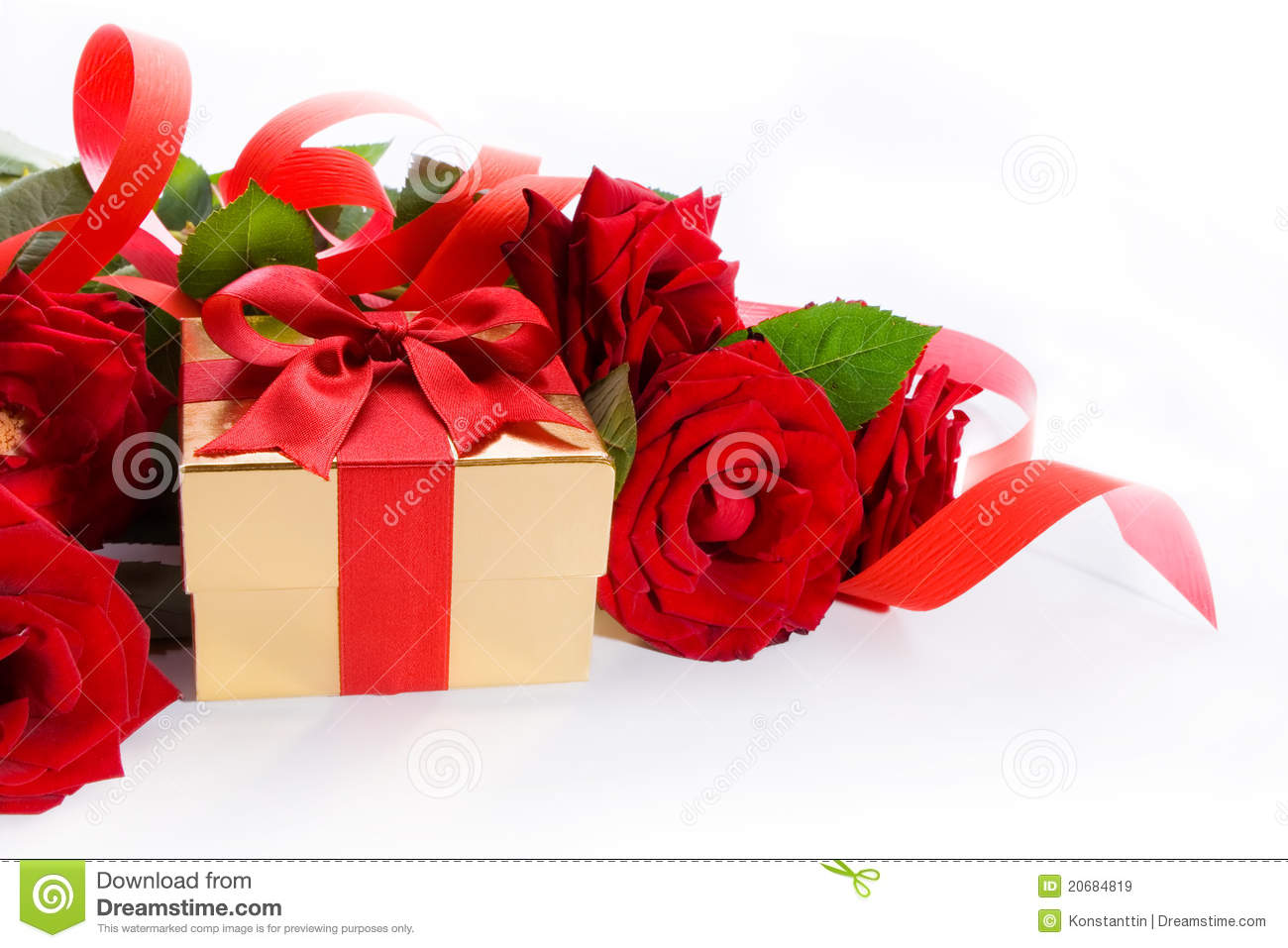 Art Gift Box And Red Roses On White Background Stock Image