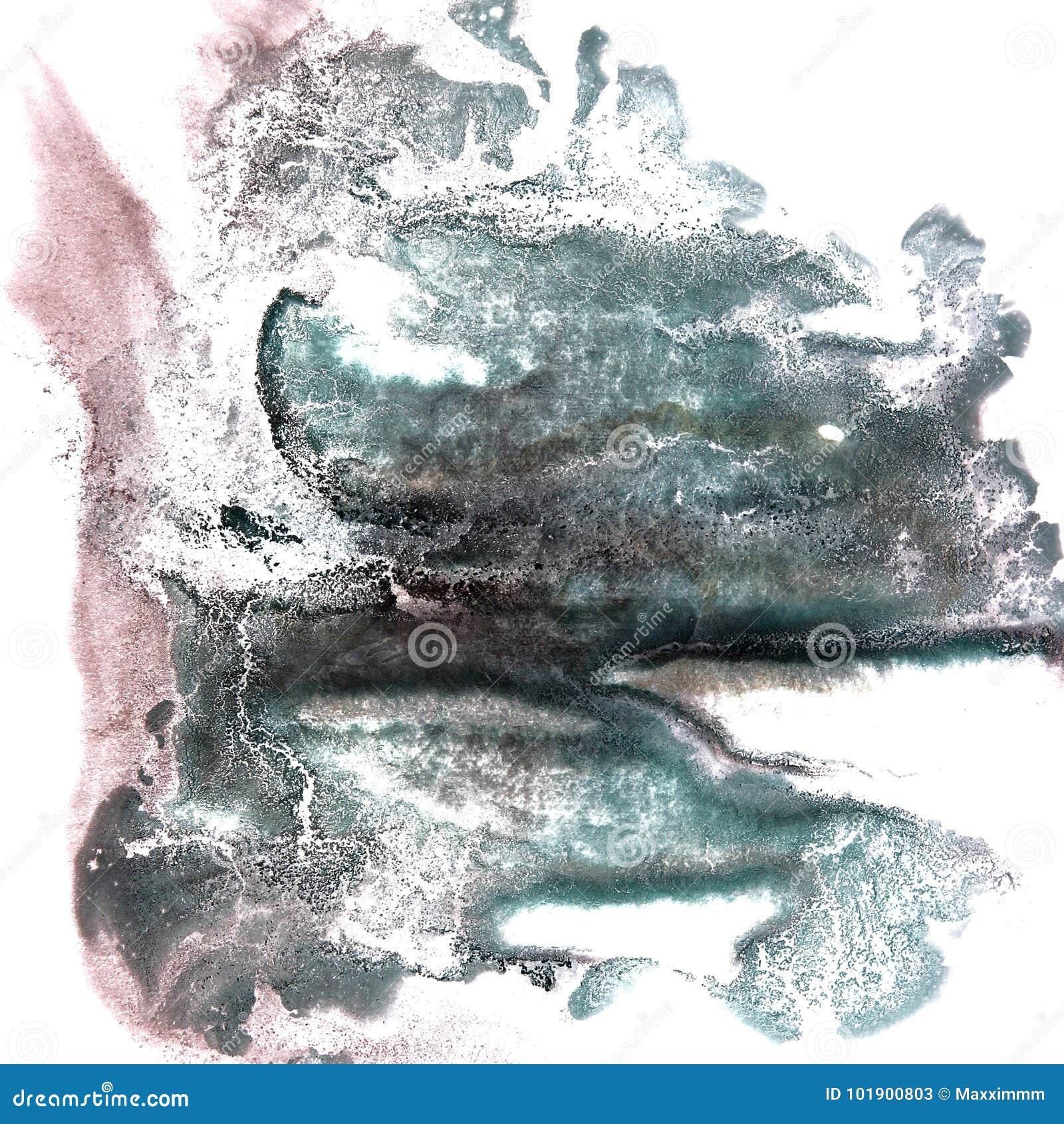 Art Green, brown watercolor ink paint blob watercolour splash co