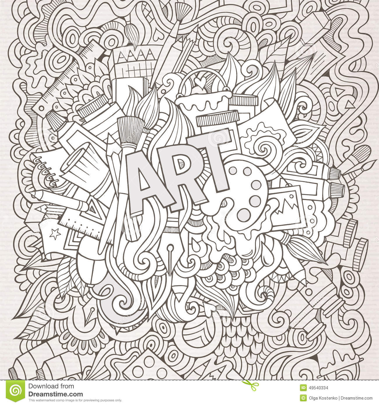 Art hand lettering and doodles elements background stock Coloring book background