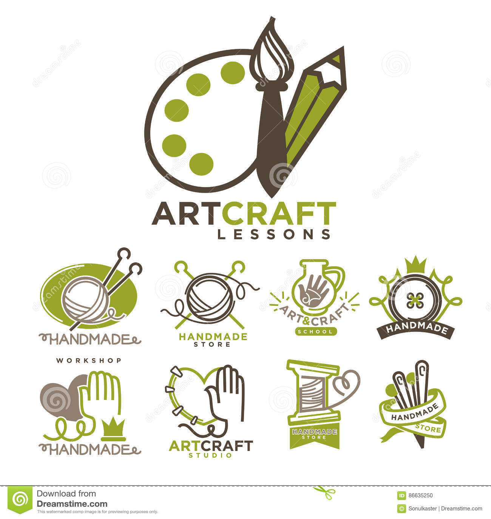 Art And Handmade Craft Logo Templates Flat Set Stock Vector