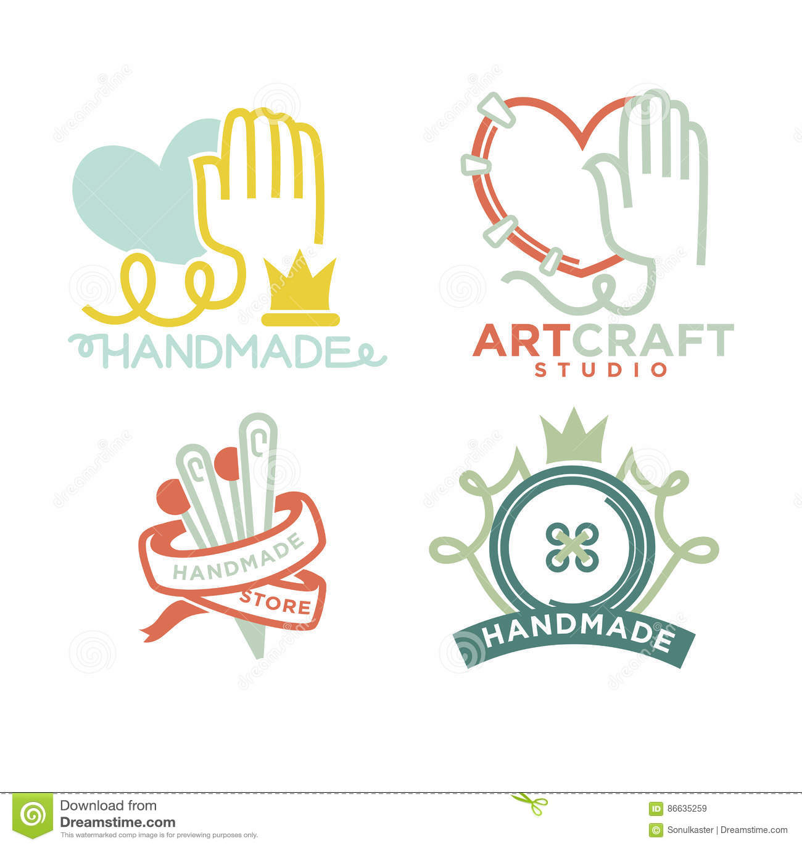 Art And Handmade Craft Logo Templates Flat Set. Stock Vector ...