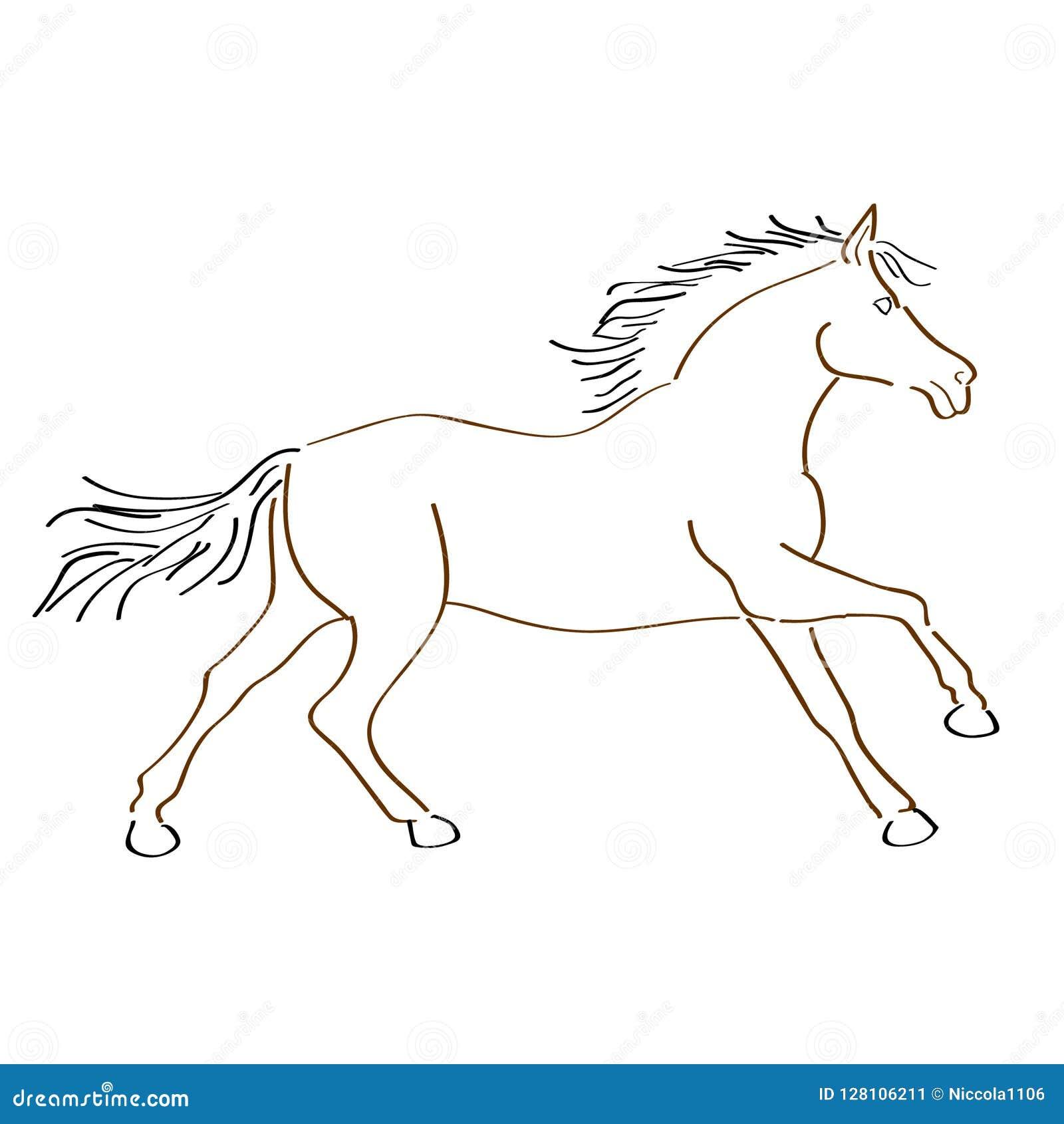 Art Handmade Drawing Horse Stock Vector Illustration Of Silhouette 128106211