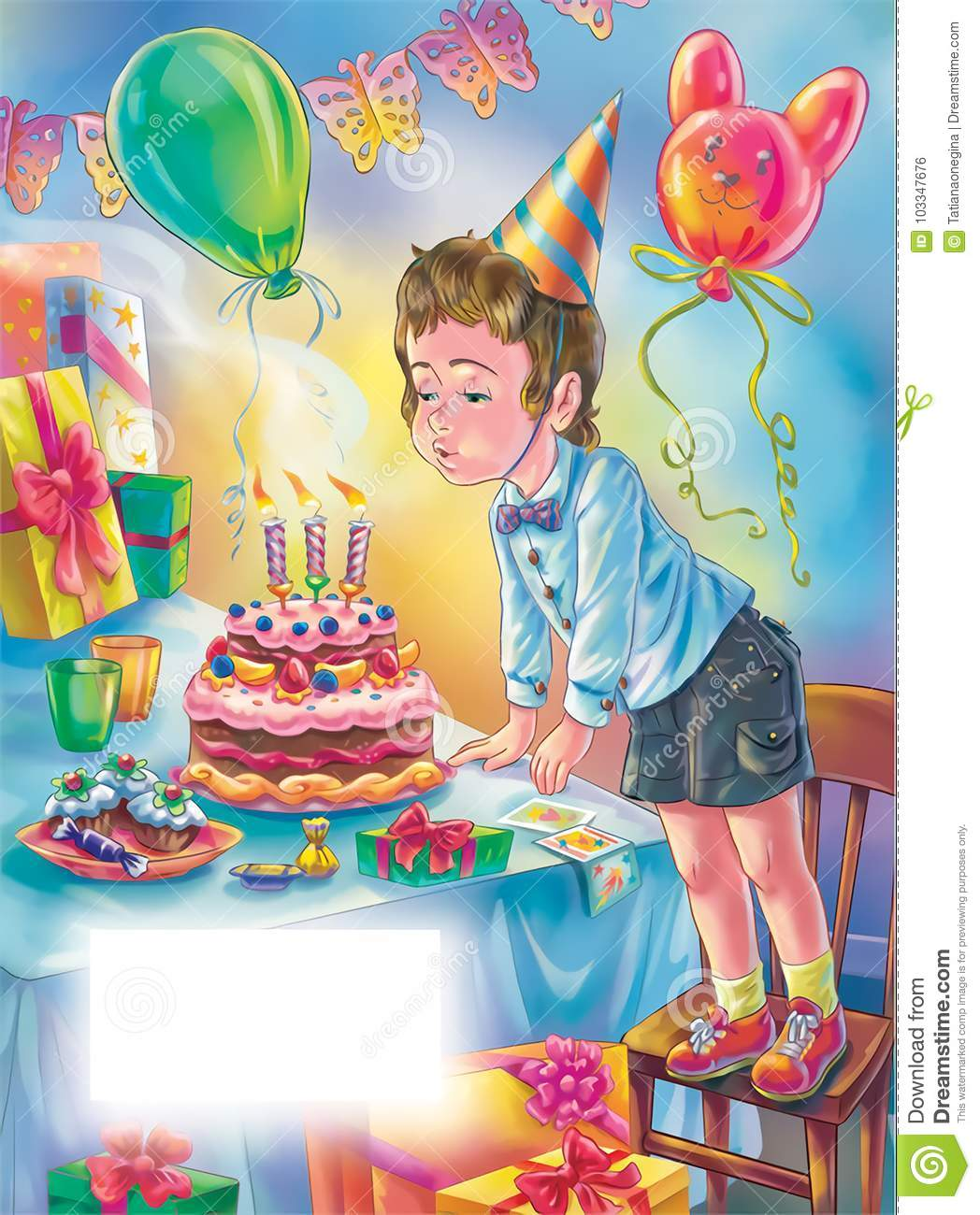 Art For Happy Birthday Greeting Card With Boy Blowing Candles On The Cake Template Text
