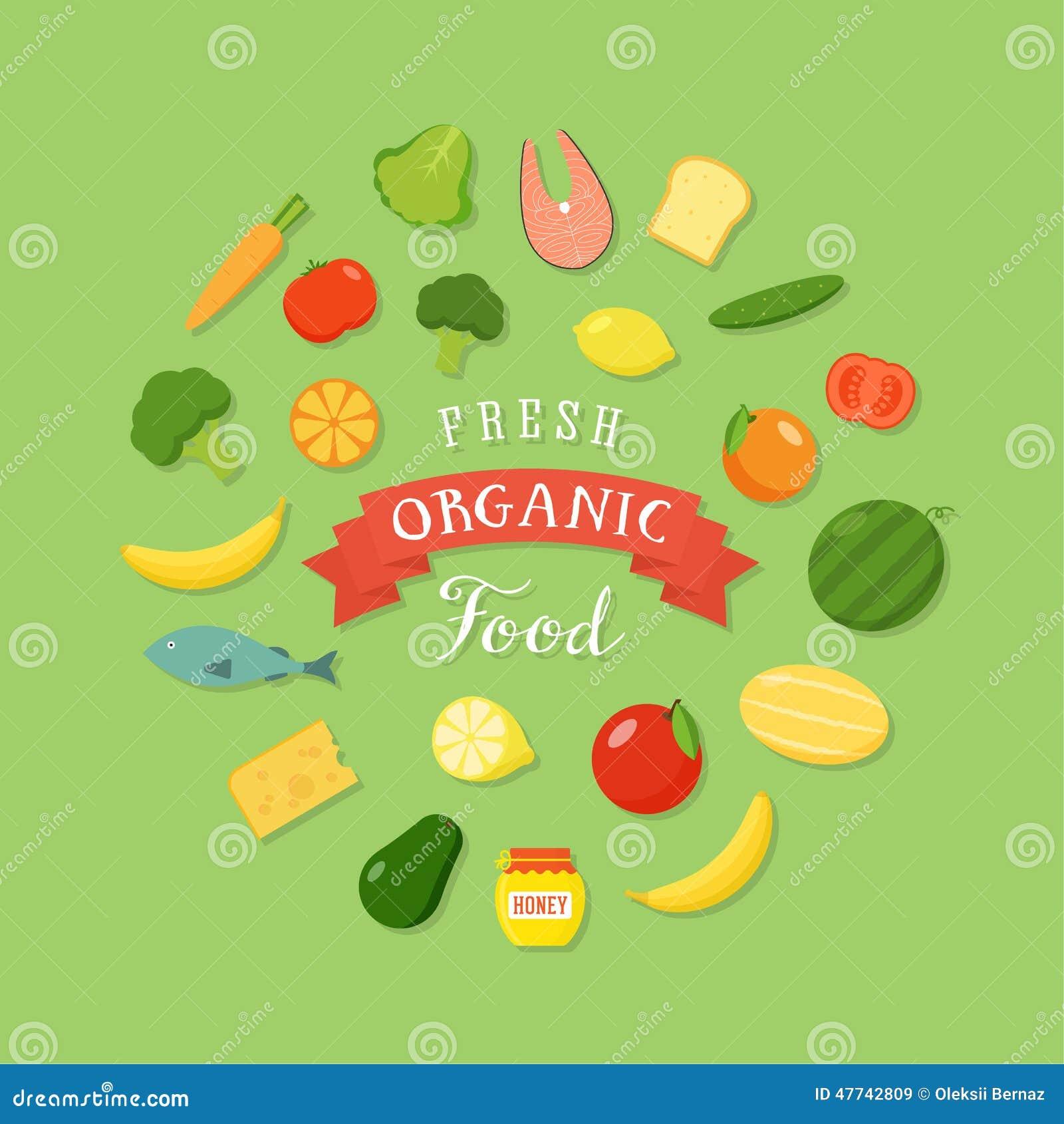 Art-Ikonen-Satz des neuen biologischen Lebensmittels flacher