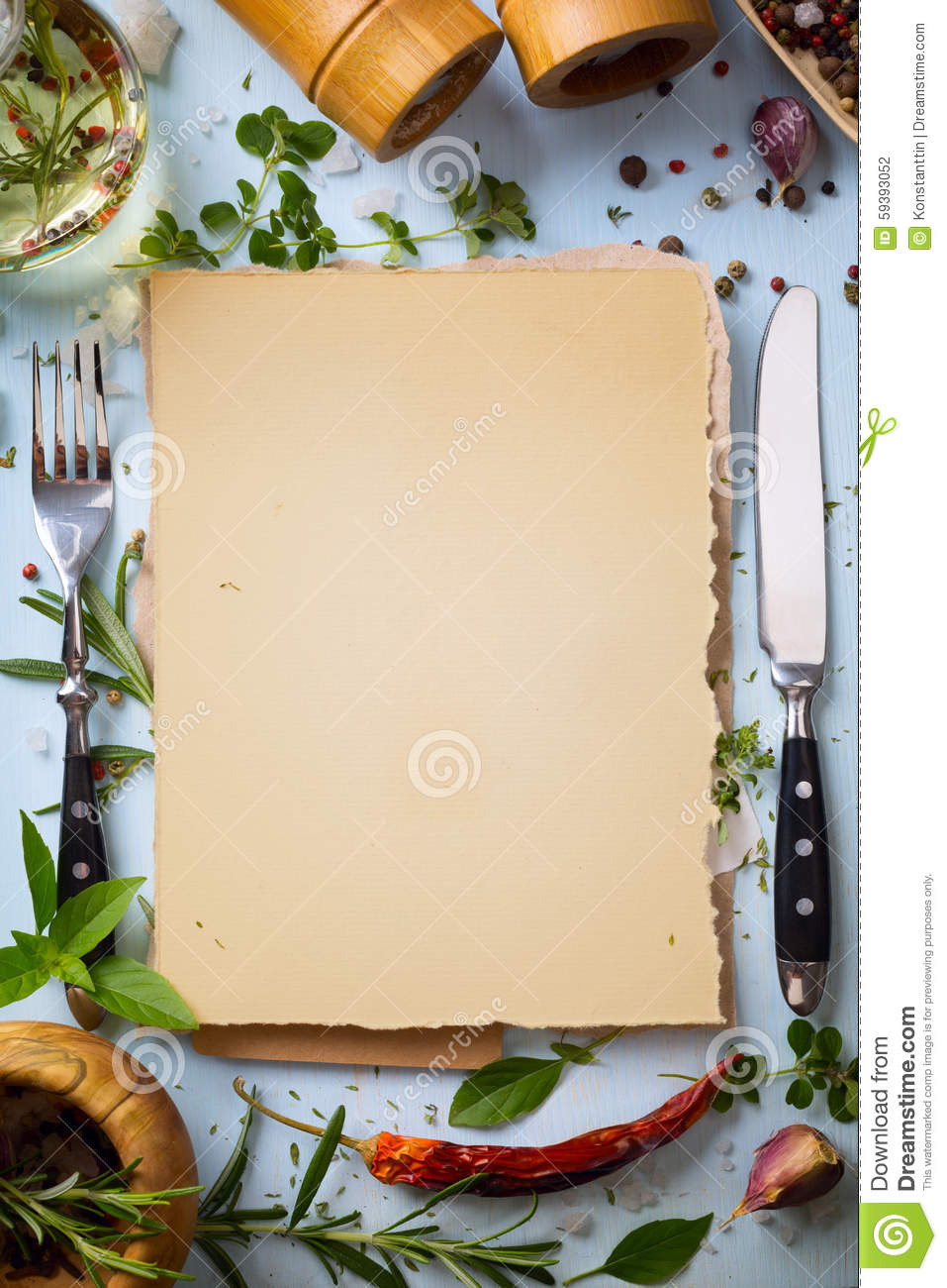 Art Italian Homemade Menu Food Background Stock Photo