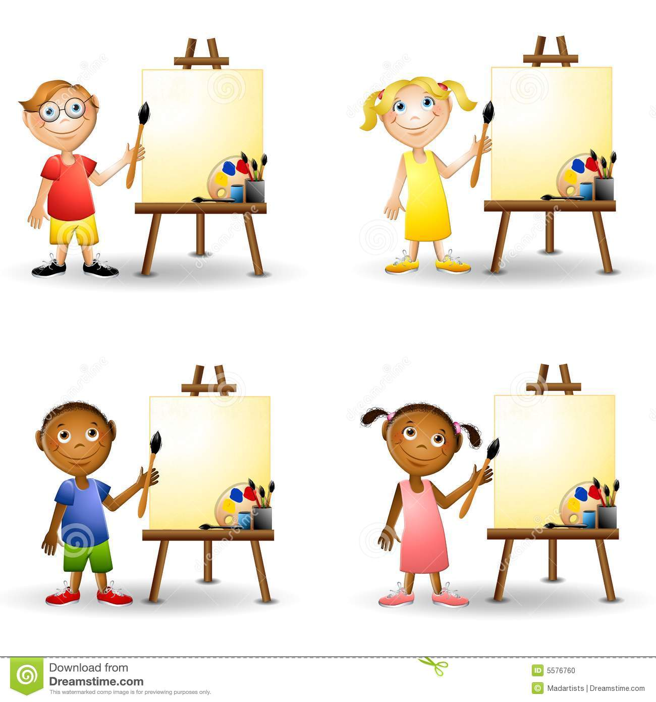 little kids holding paintbrushes and standing beside paint easels