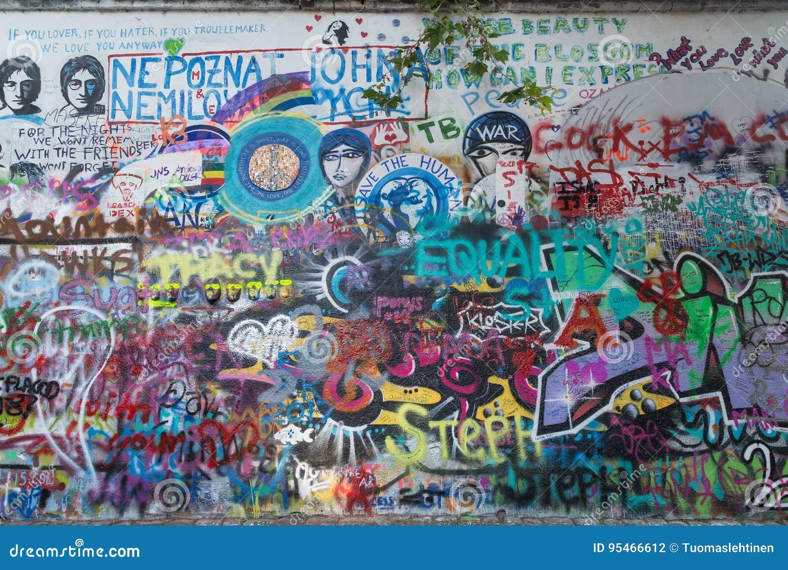 Art on the lennon wall in prague