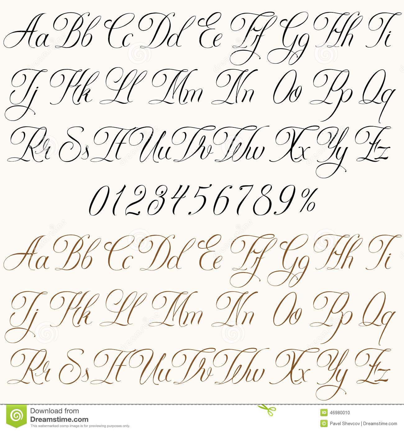 Handmade vector calligraphy tattoo alphabet with numbers.