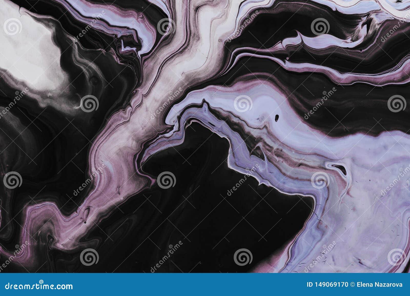 Art liquide Vagues grises et boucles noires et lilas E