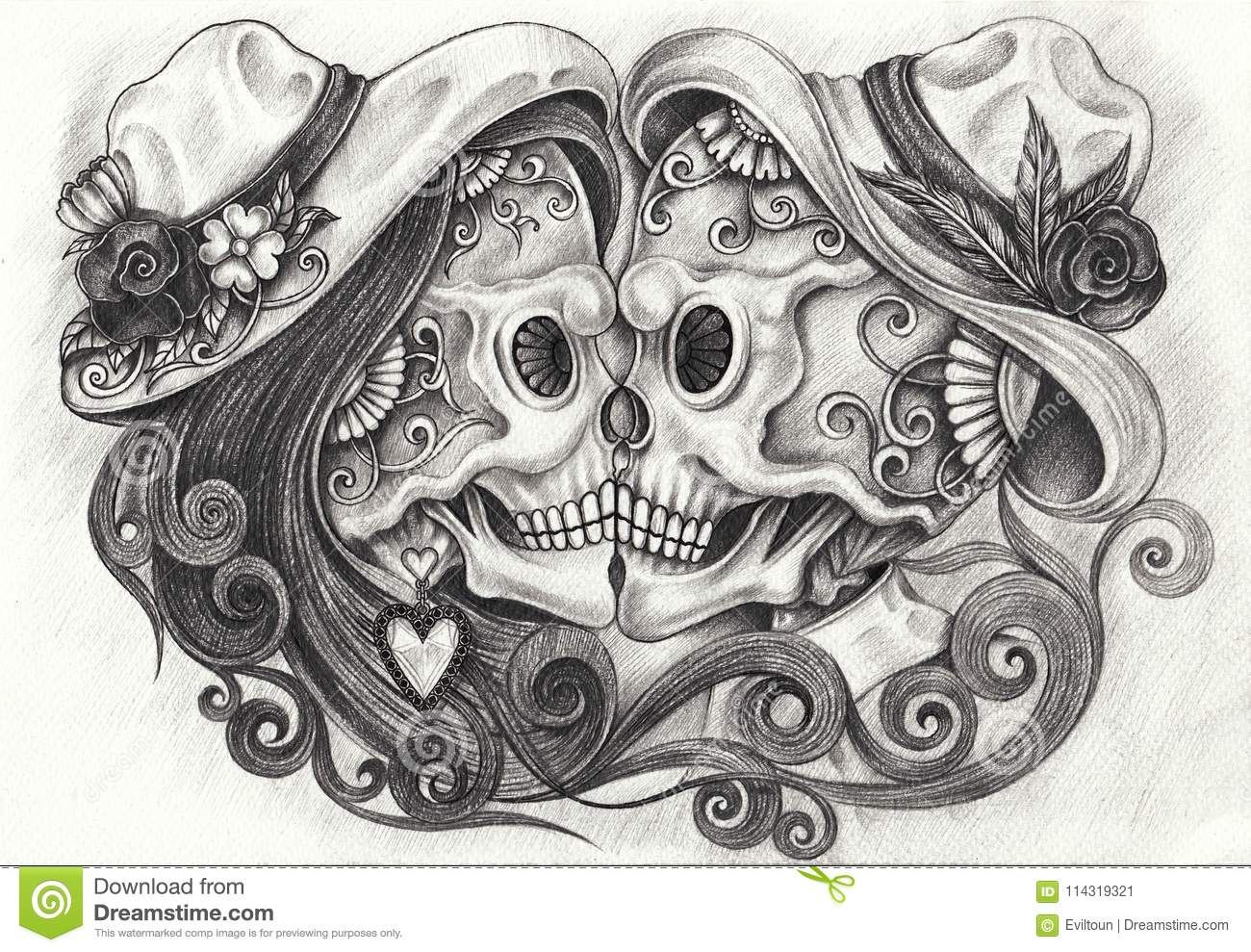 Art design in love skulls day of the dead hand pencil drawing on paper