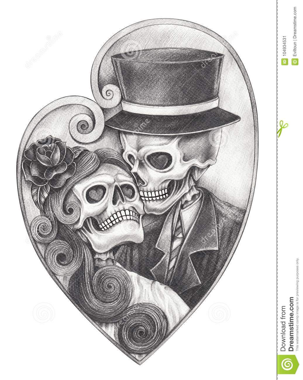 8cee54a6d Art In Love Wedding Skull Day Of The Dead. Stock Illustration ...