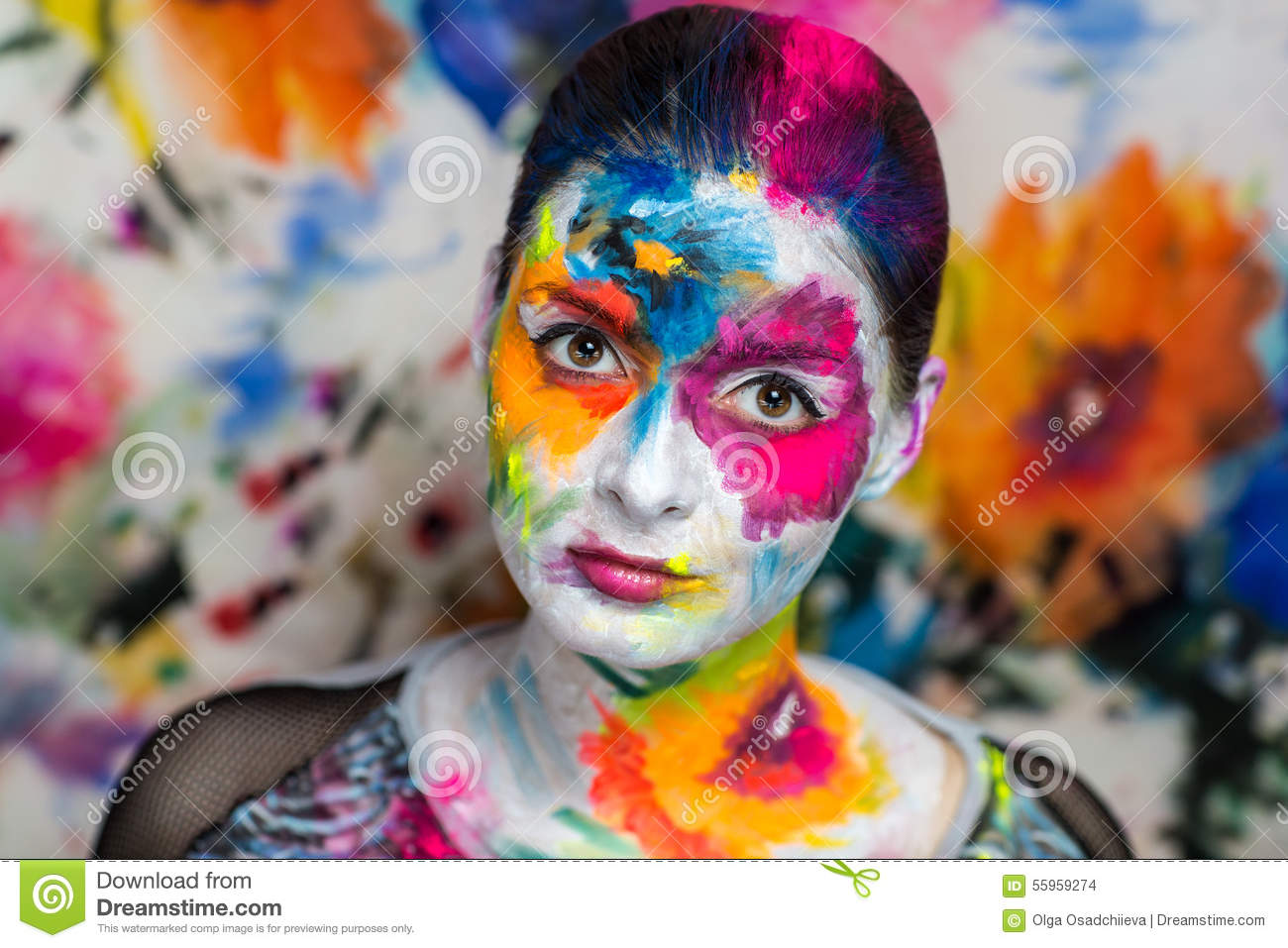 Art make up flowers stock photo image of bright blue for Crazy mural lady