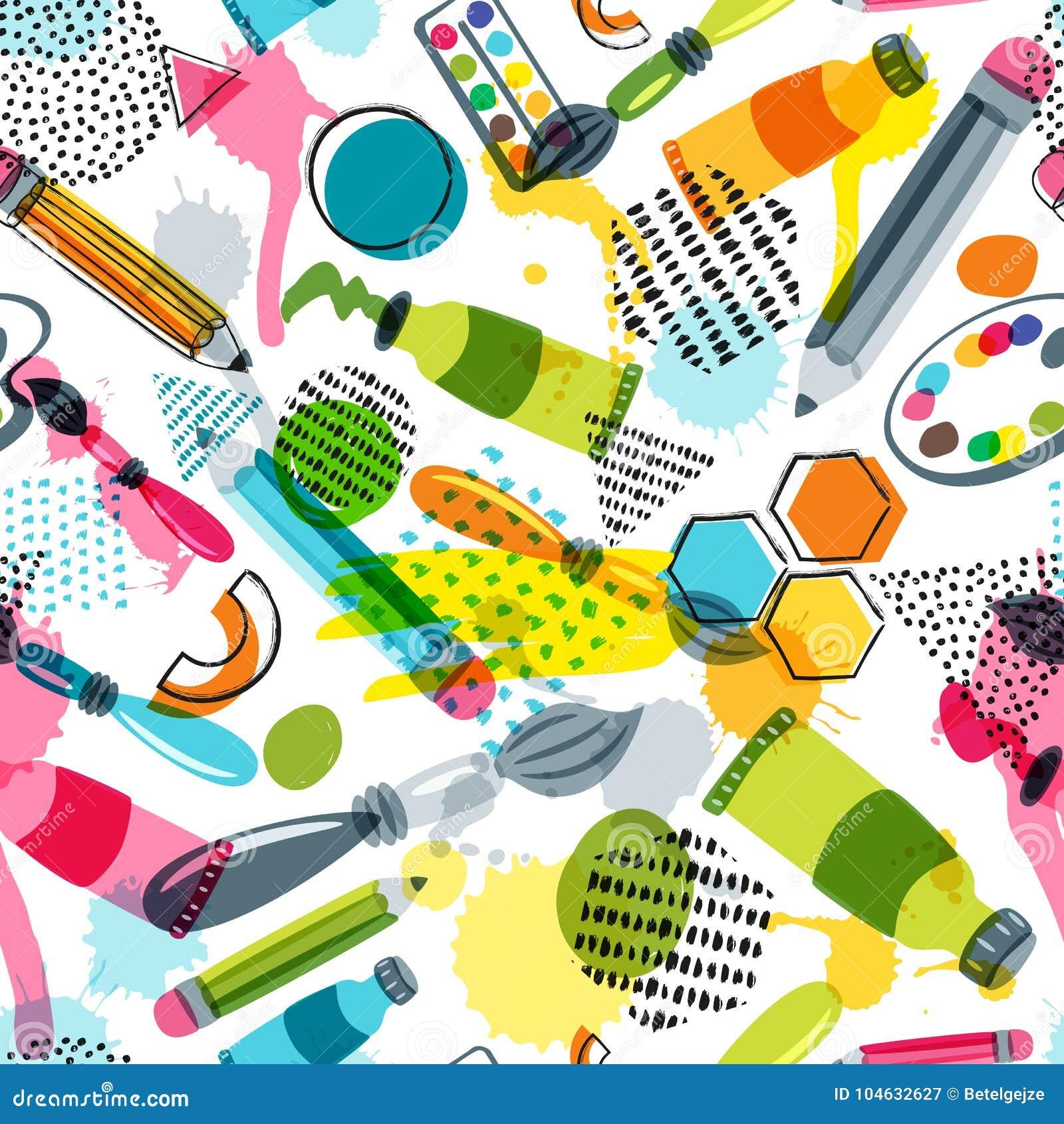 Art Materials For Craft Design Creativity Vector Doodle Seamless