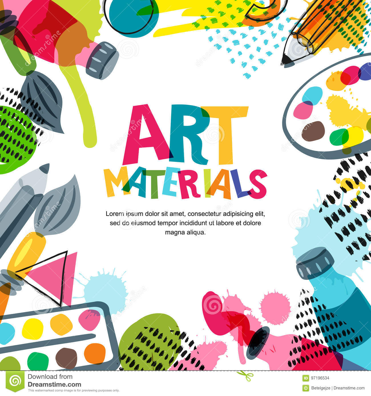 d64b91e8cc69 Art materials for design and creativity. Vector doodle illustration.  Banner, poster or frame background.