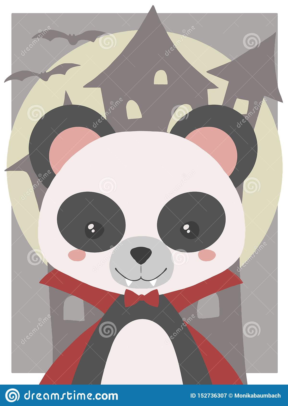 Art mignon de vecteur de Halloween pour les enfants, le panda habillé vers le haut de comme le vampire avec des crocs et le rouge