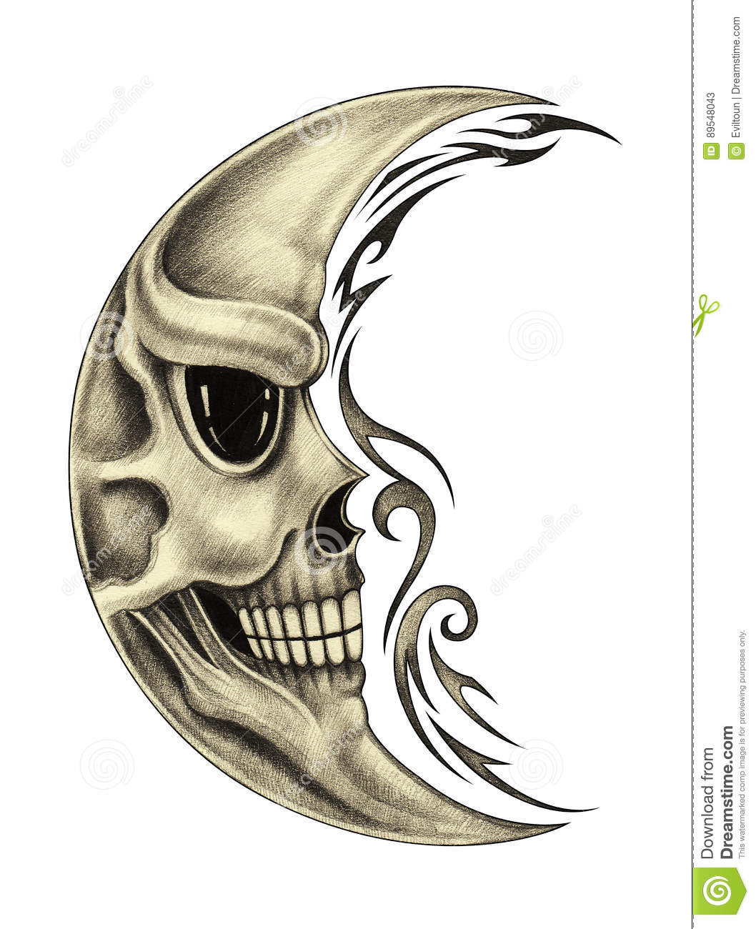 Art Moon Skull Tattoo Stock Illustration Illustration Of Face