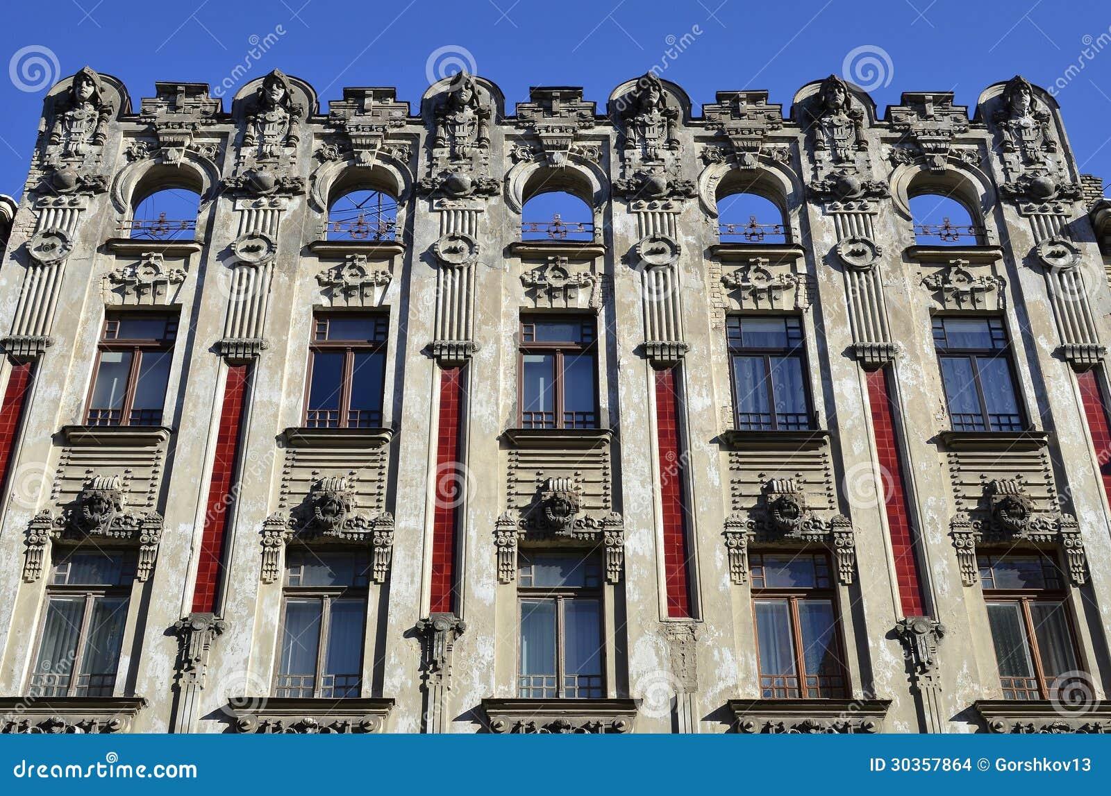 Art Nouveau Apartment Buildings In Riga, Latvia Stock ...