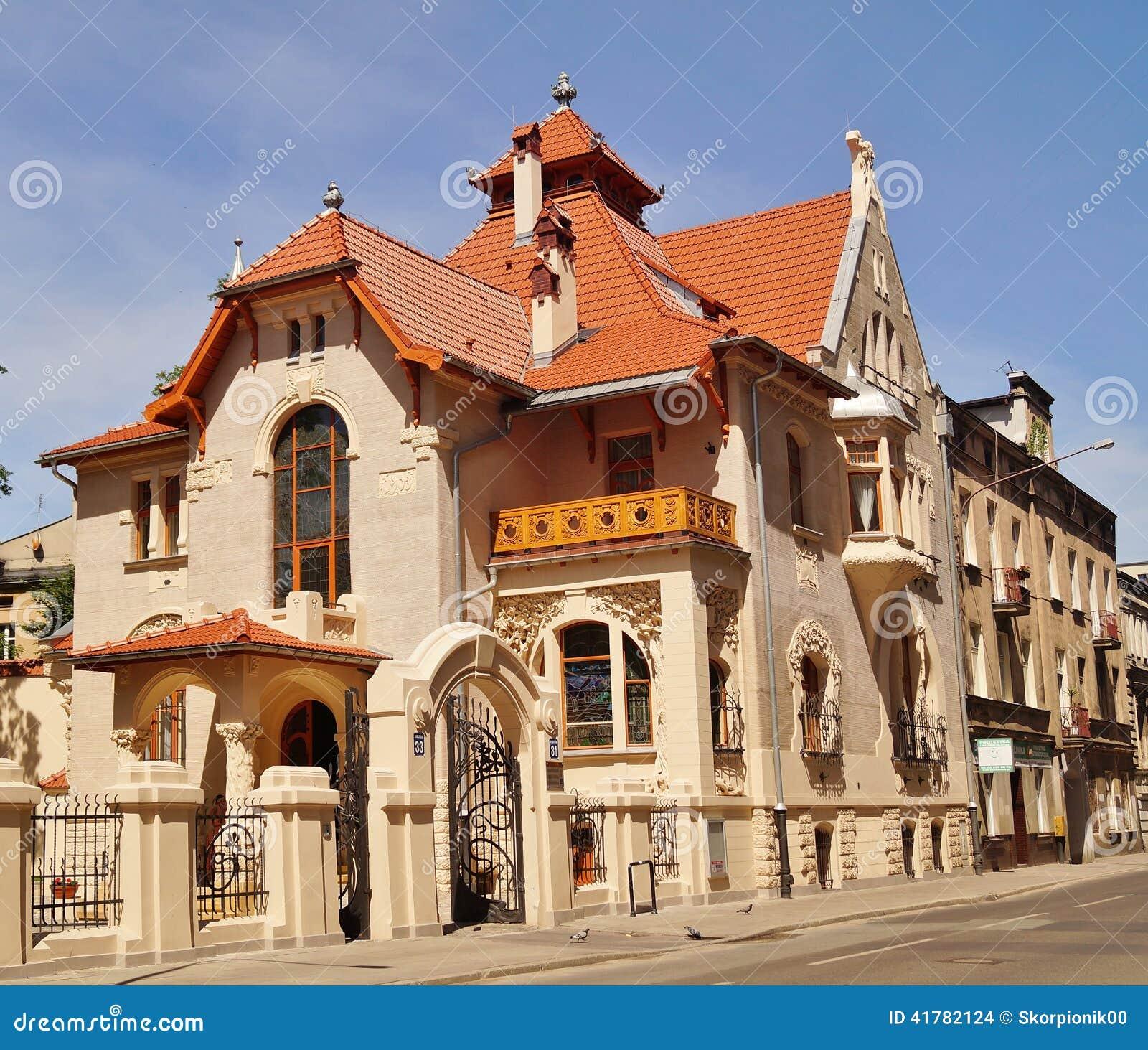 Art nouveau architecture of the city lodz poland stock for Architecture art