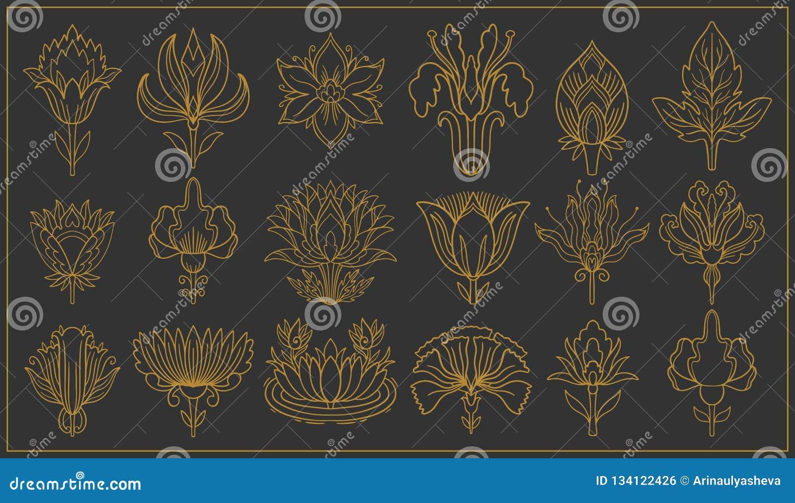 Art Nouveau And Art Deco Floral Ornaments Modern Flower