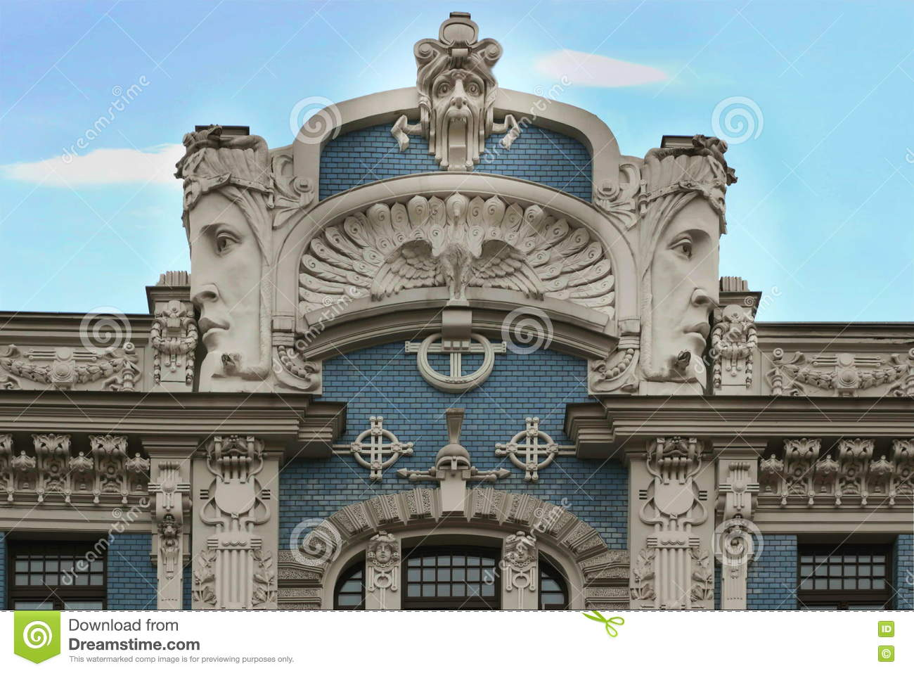 art nouveau building in riga latvia stock image image of