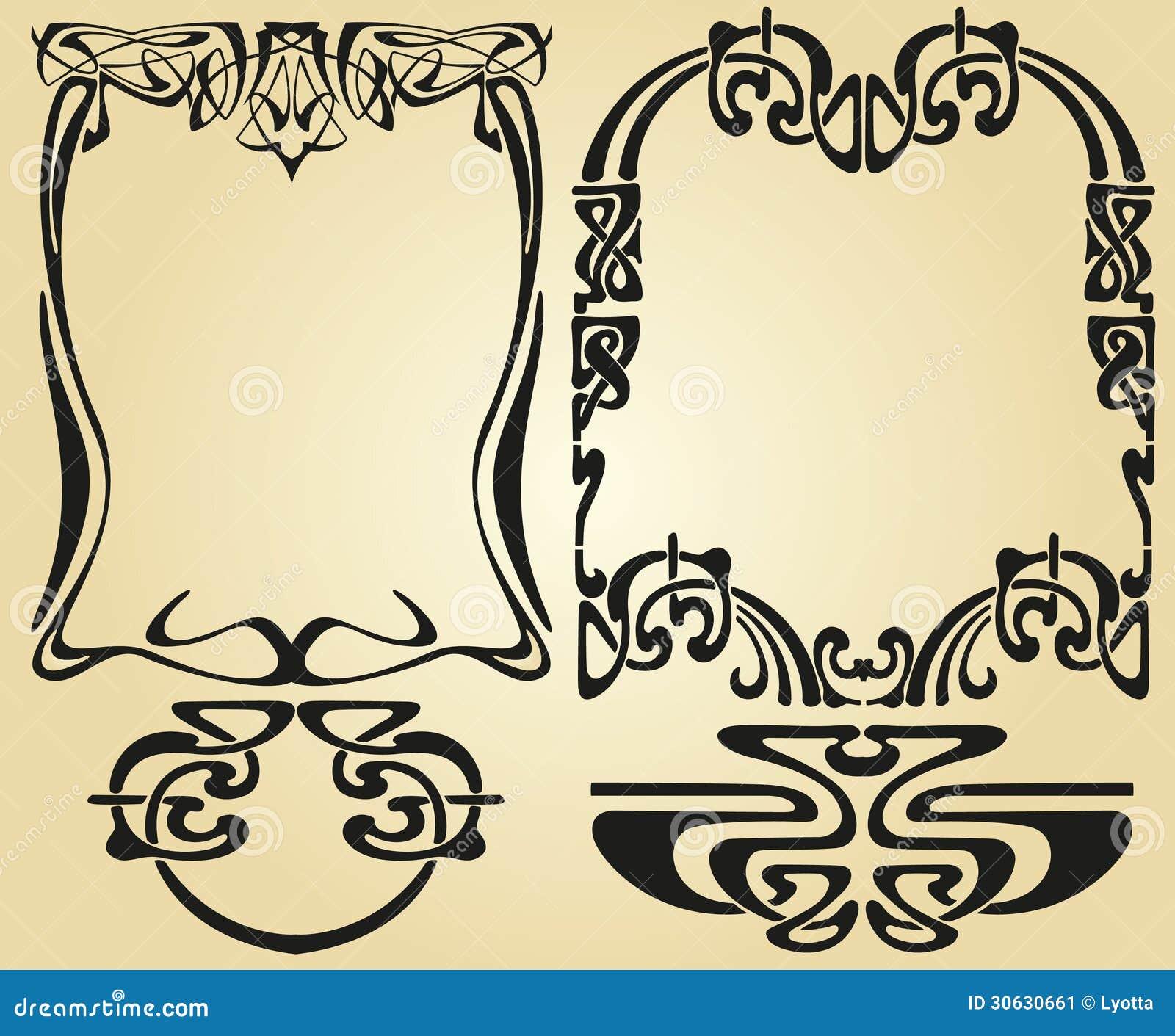 Art Nouveau Design Framework Stock Vector Illustration