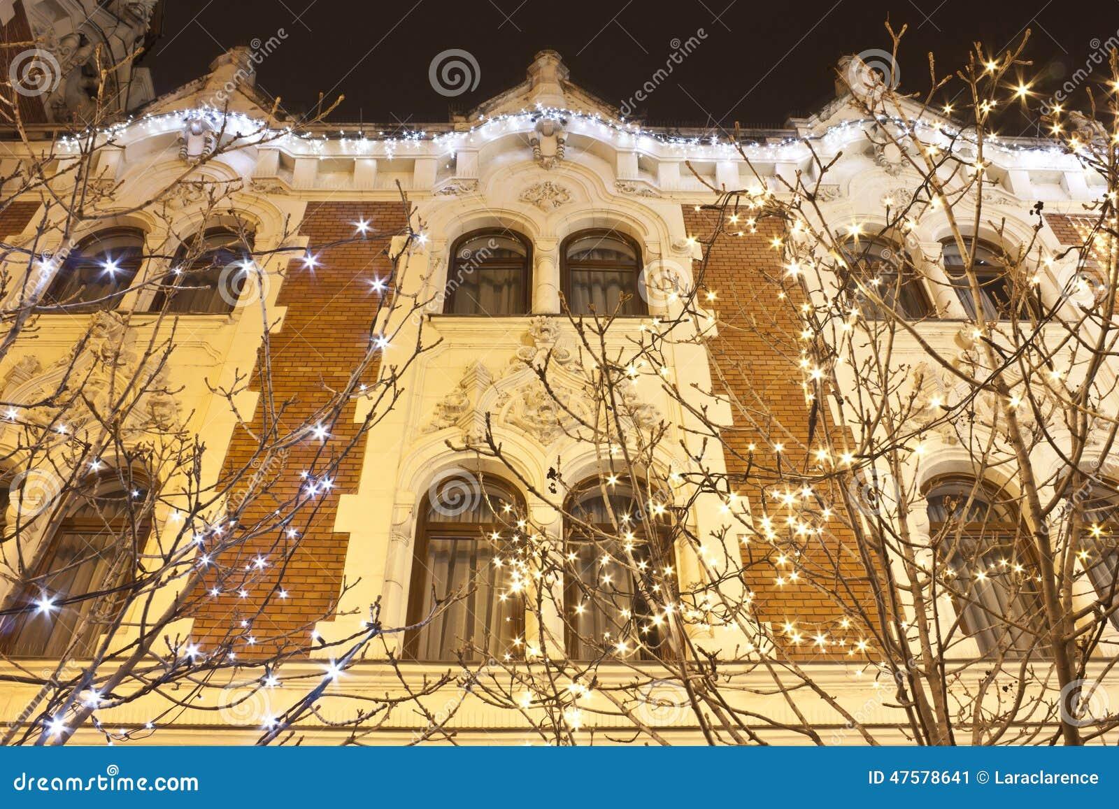 Art nouveau eclectic style building with christmas for Art nouveau decoration ameublement