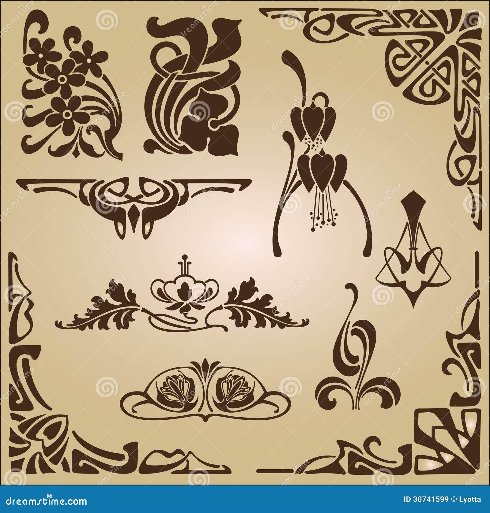 Art nouveau elements and corners design ornament stock for Art nouveau decoration ameublement