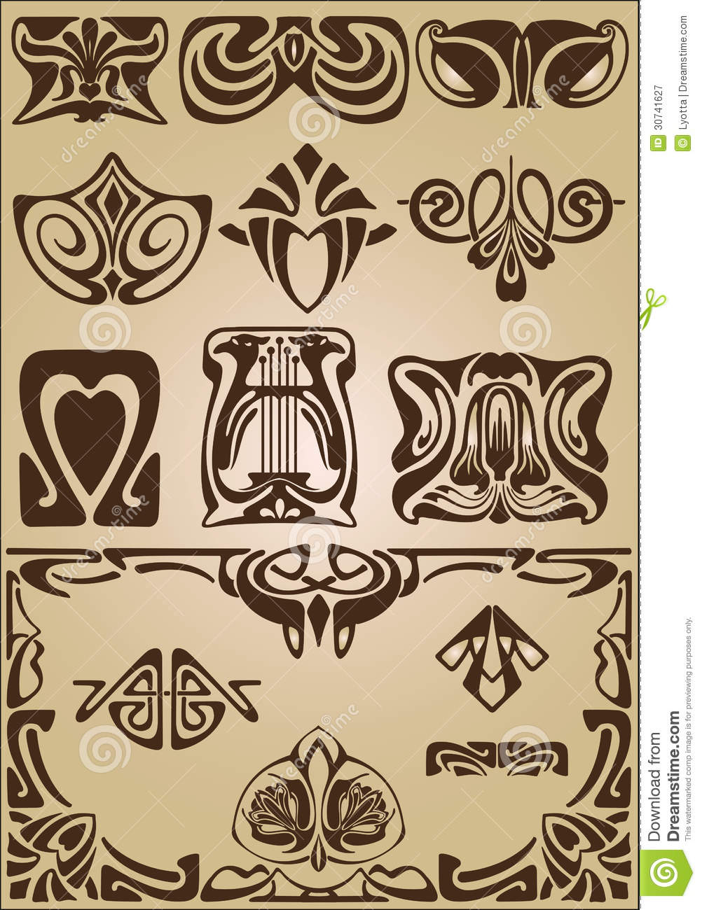 Art nouveau elements and corners design ornament royalty for Art de decoration