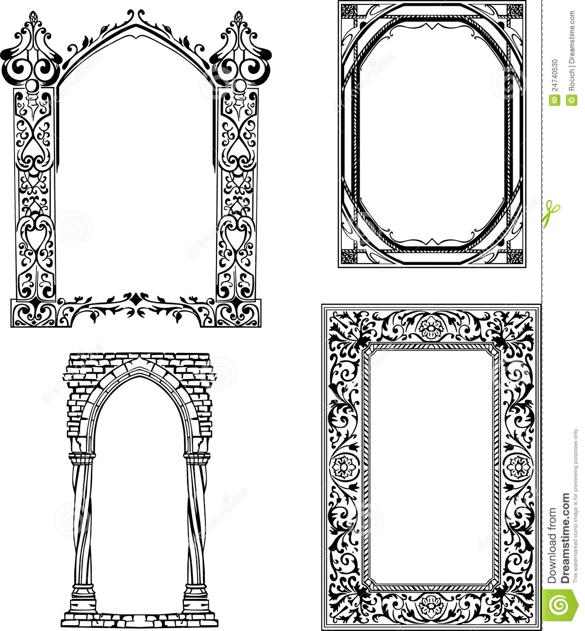 Art Nouveau frames. Set of black and white vector illustrations.