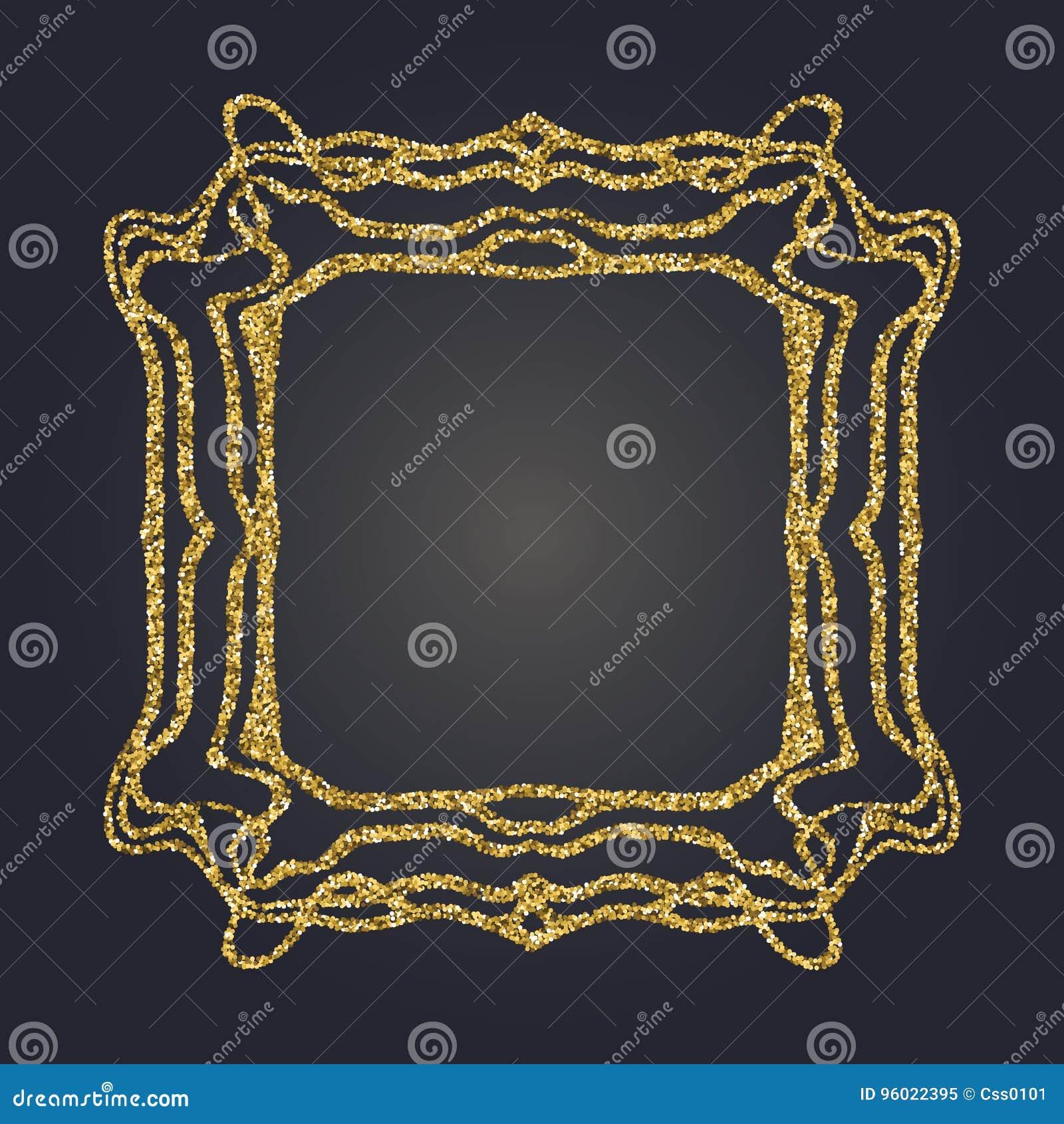 Art Nouveau Gold Glitter Decorative Rectangle Vector Frame For