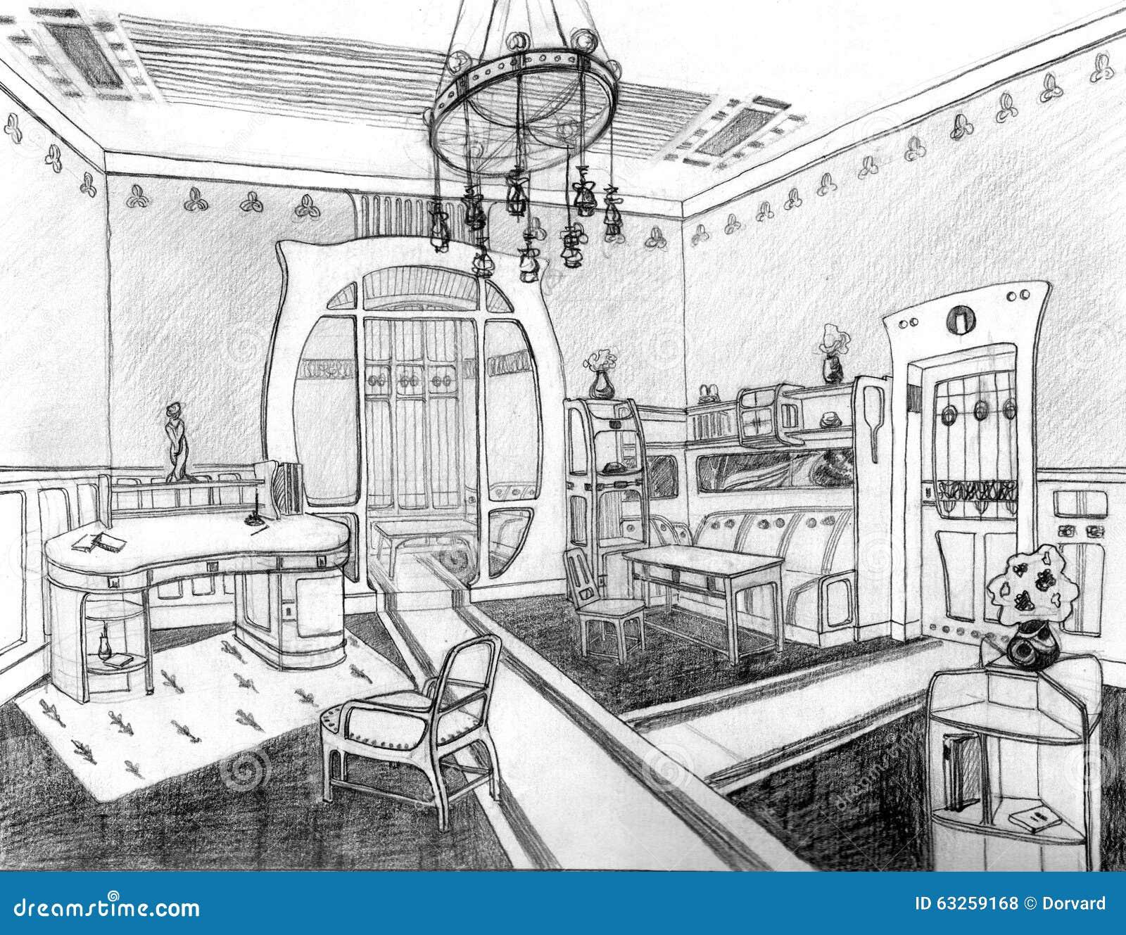 Art Nouveau Interior Living Hand Drawn Stock Illustration ...