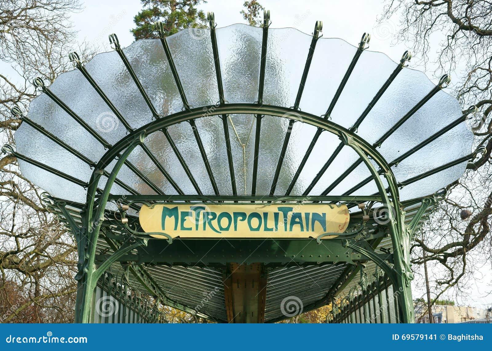 Art Nouveau Metro Entrance Paris Editorial Photo - Image of style ...