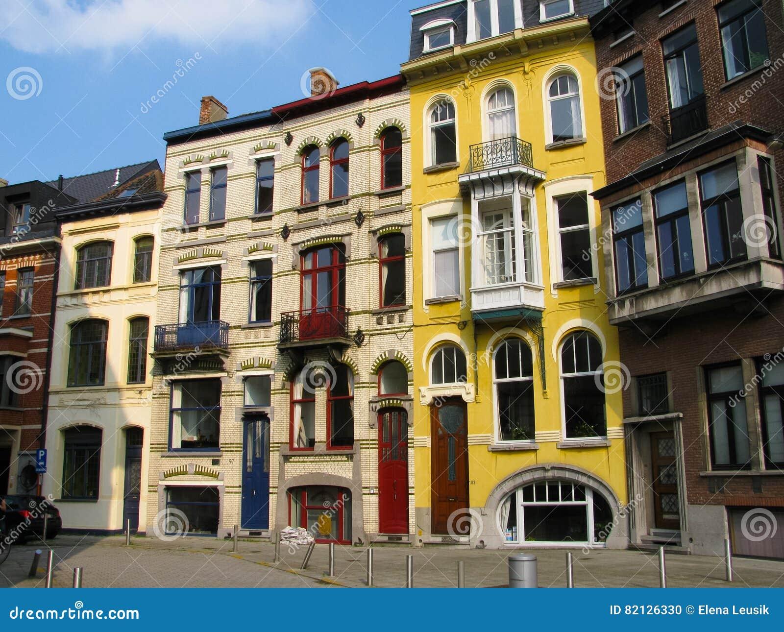 Art Nouveau New Art Modern Buildings In Ghent Belgium