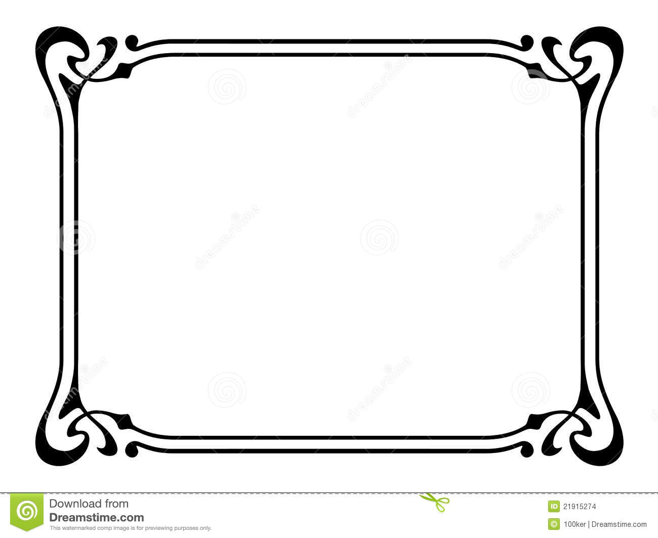 Art Nouveau Ornamental Decorative Frame Stock Vector