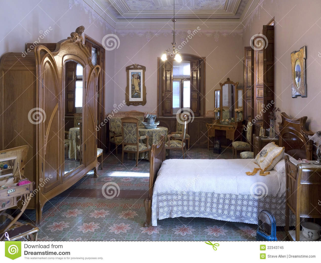 Art Nouveau Spanish Bedroom Interior Editorial Image