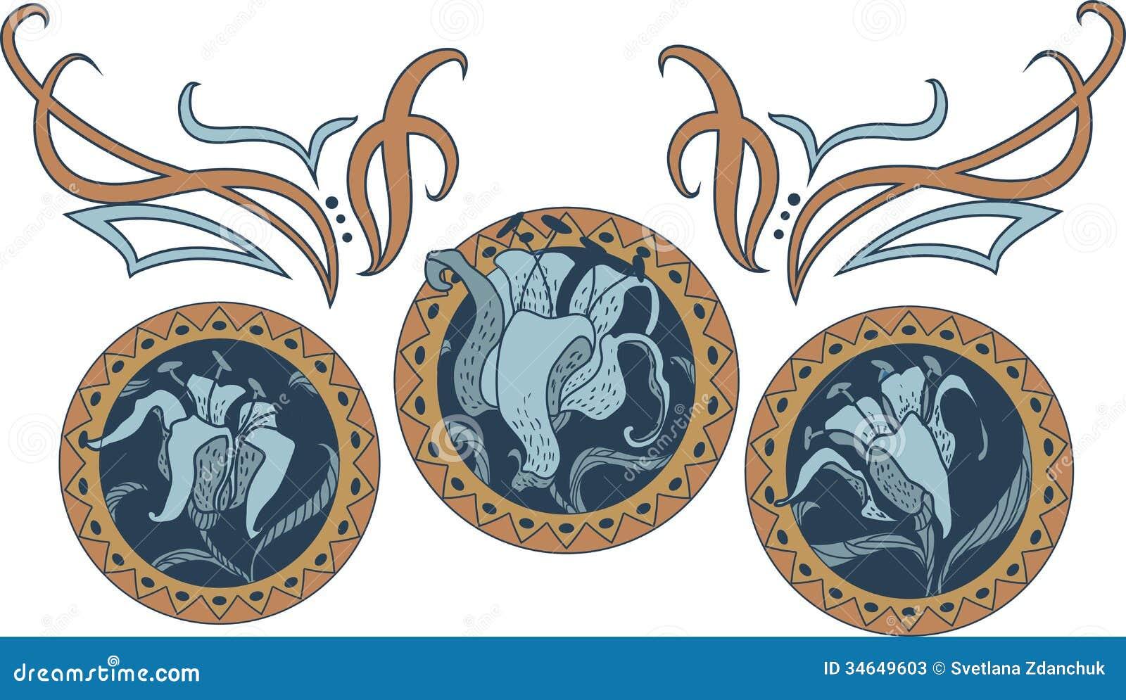 Art deco ornaments - Art Nouveau Style Ornament Stock Photos